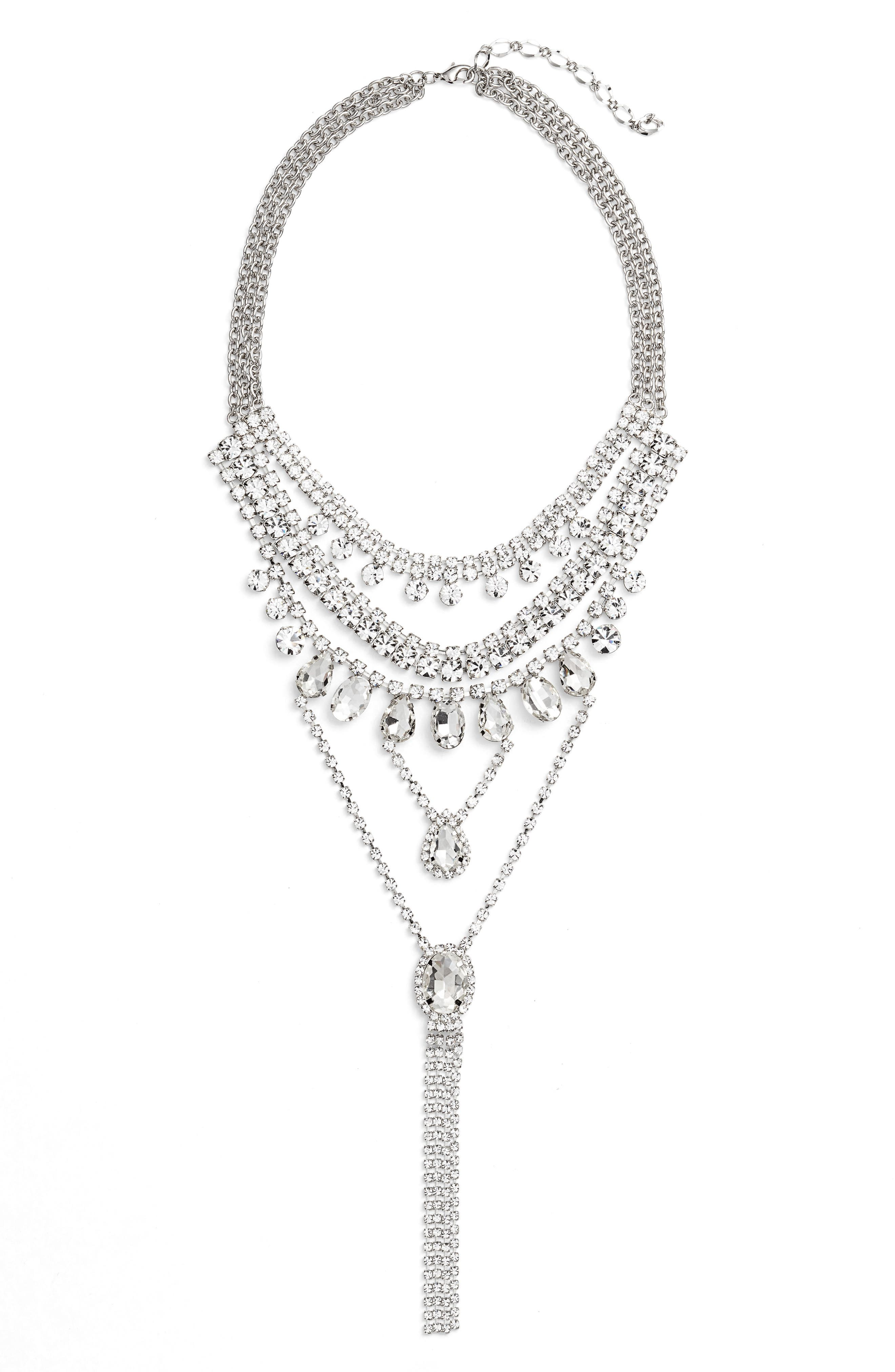 Multistrand Crystal Necklace,                         Main,                         color, SILVER