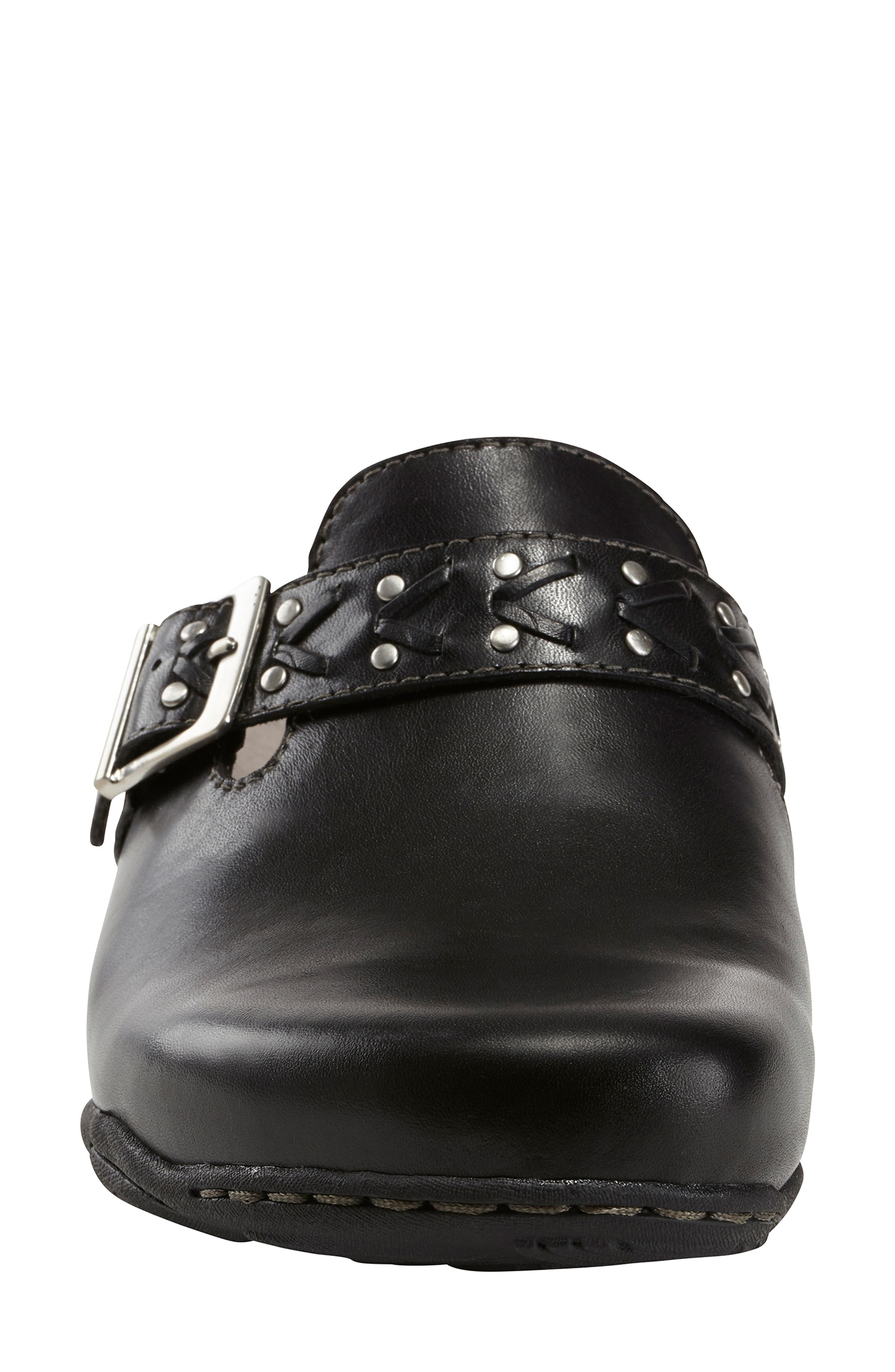 Cayman Clog,                             Alternate thumbnail 4, color,                             BLACK LEATHER