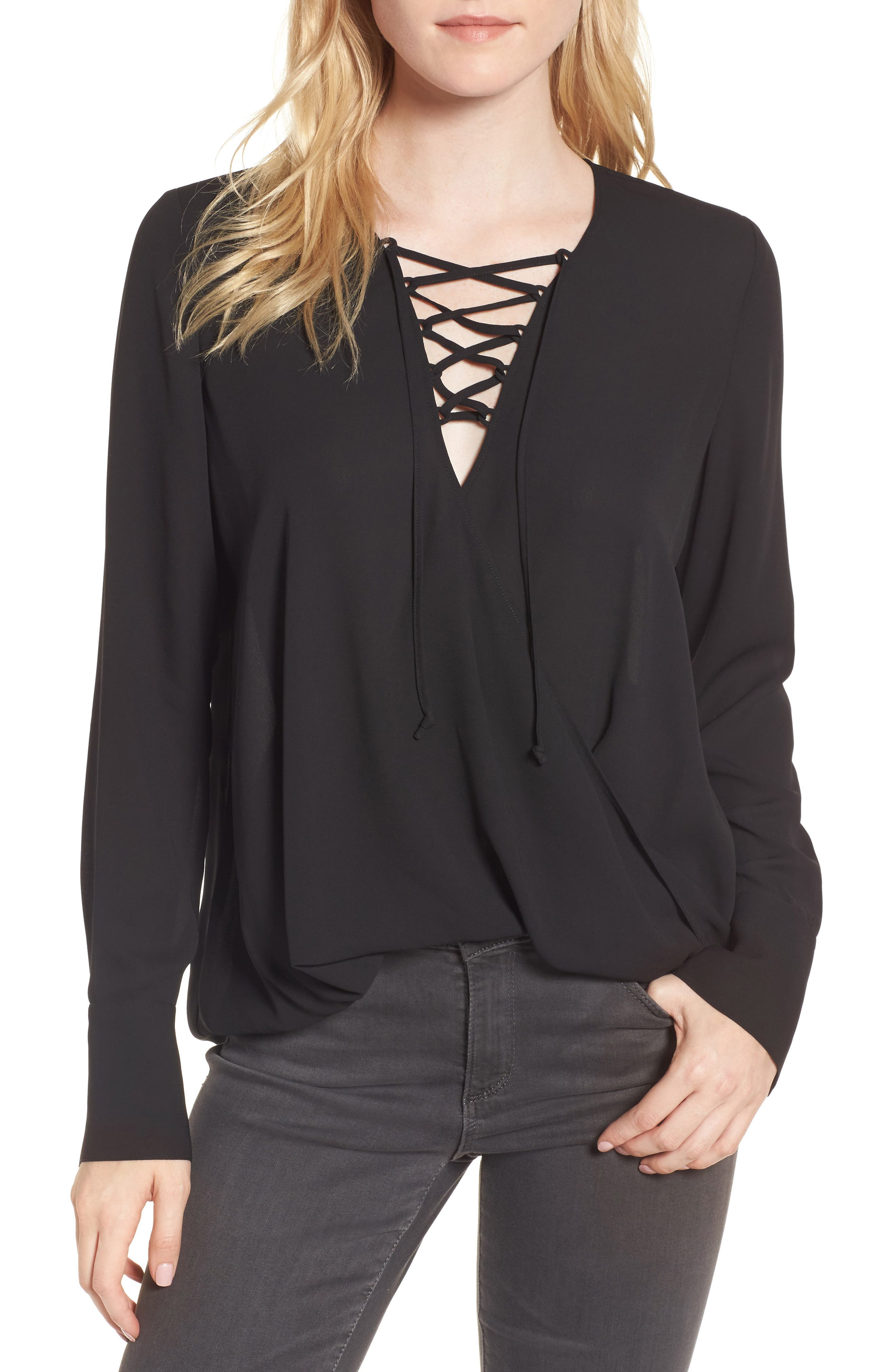 Lace-Up Top,                         Main,                         color, 001