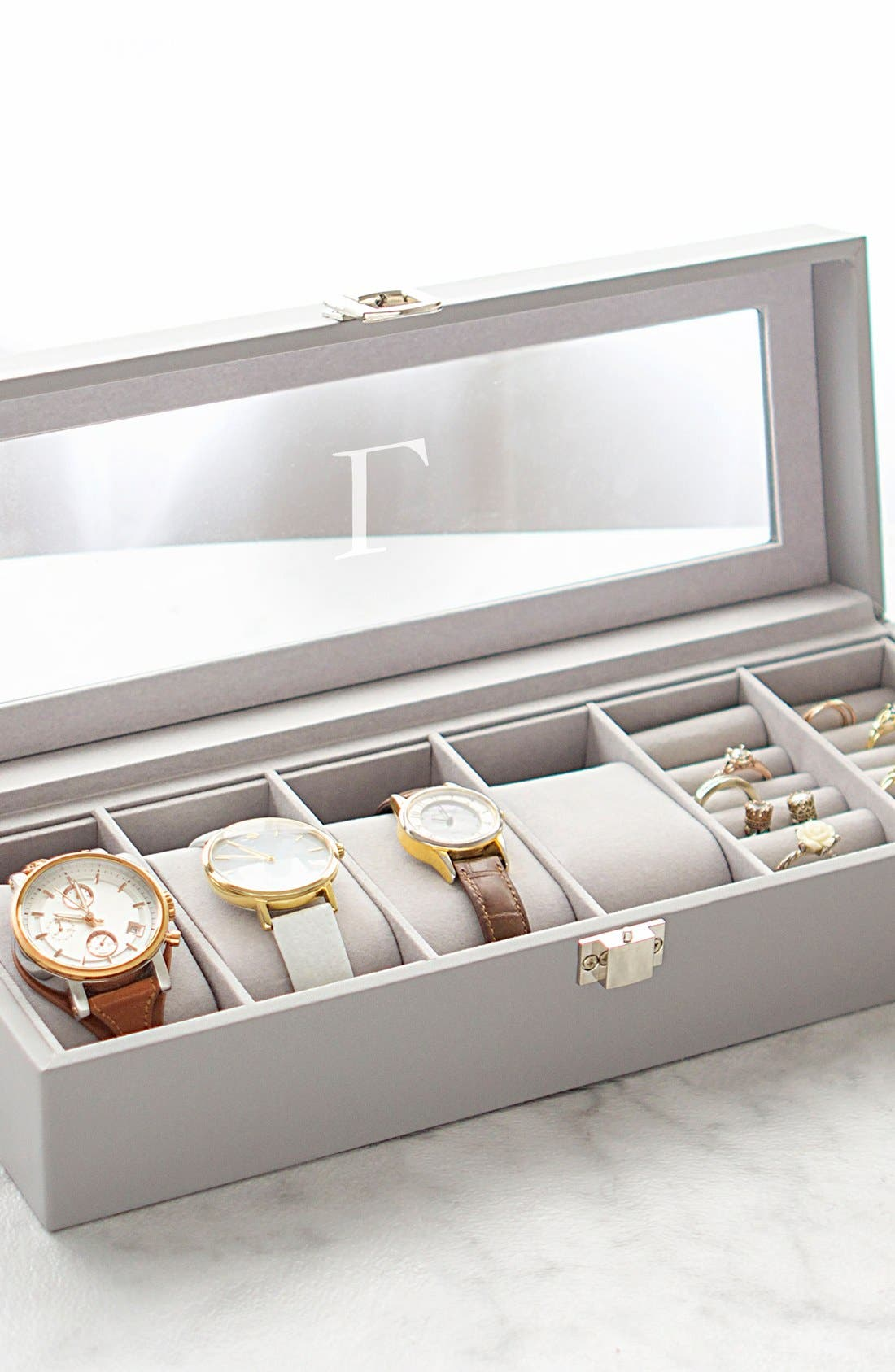 Monogram Watch & Jewelry Case,                             Alternate thumbnail 5, color,                             BLANK