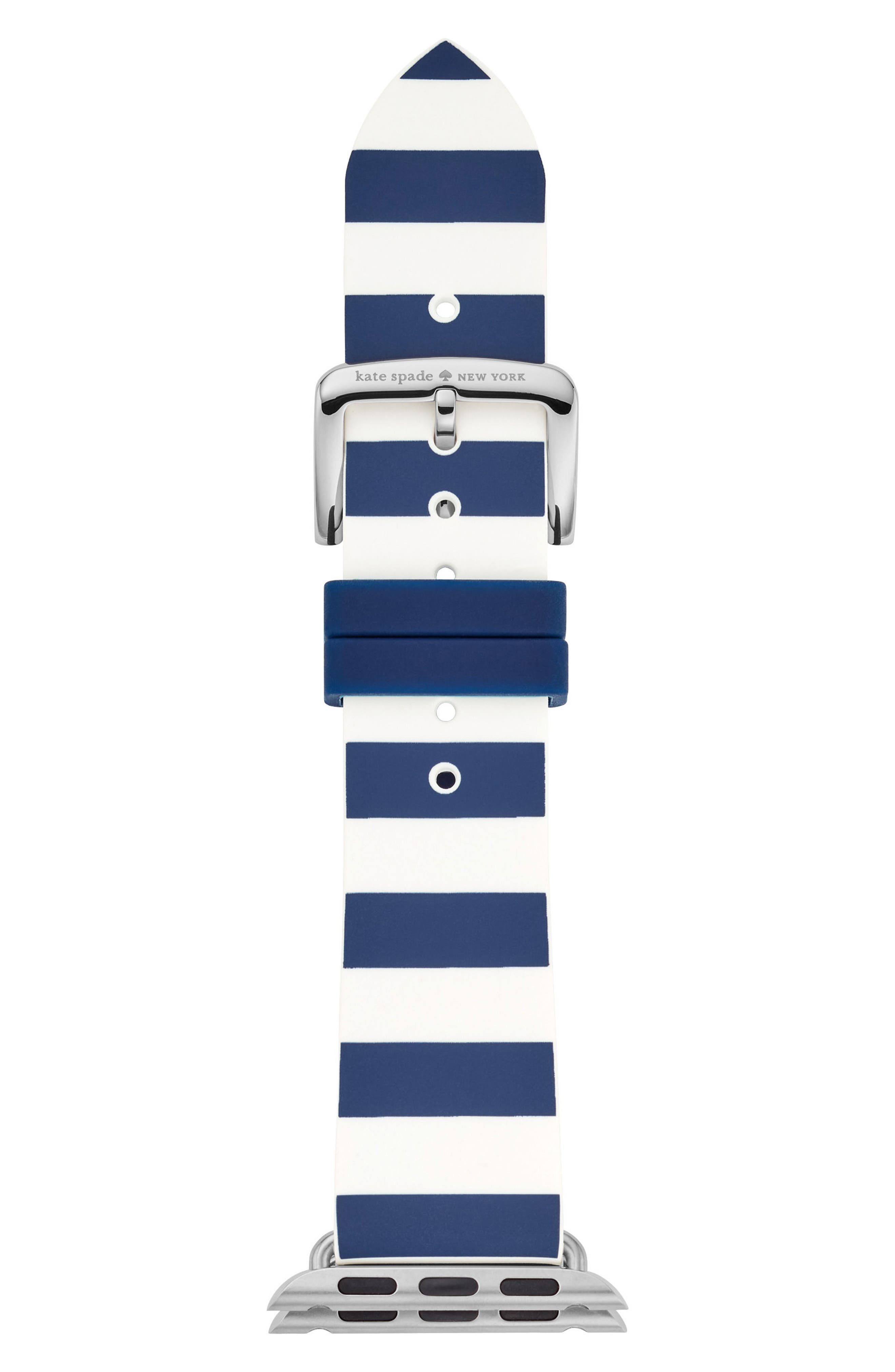 Apple<sup>®</sup> watch silicone strap, 25mm,                             Main thumbnail 1, color,                             BLUE/ WHITE
