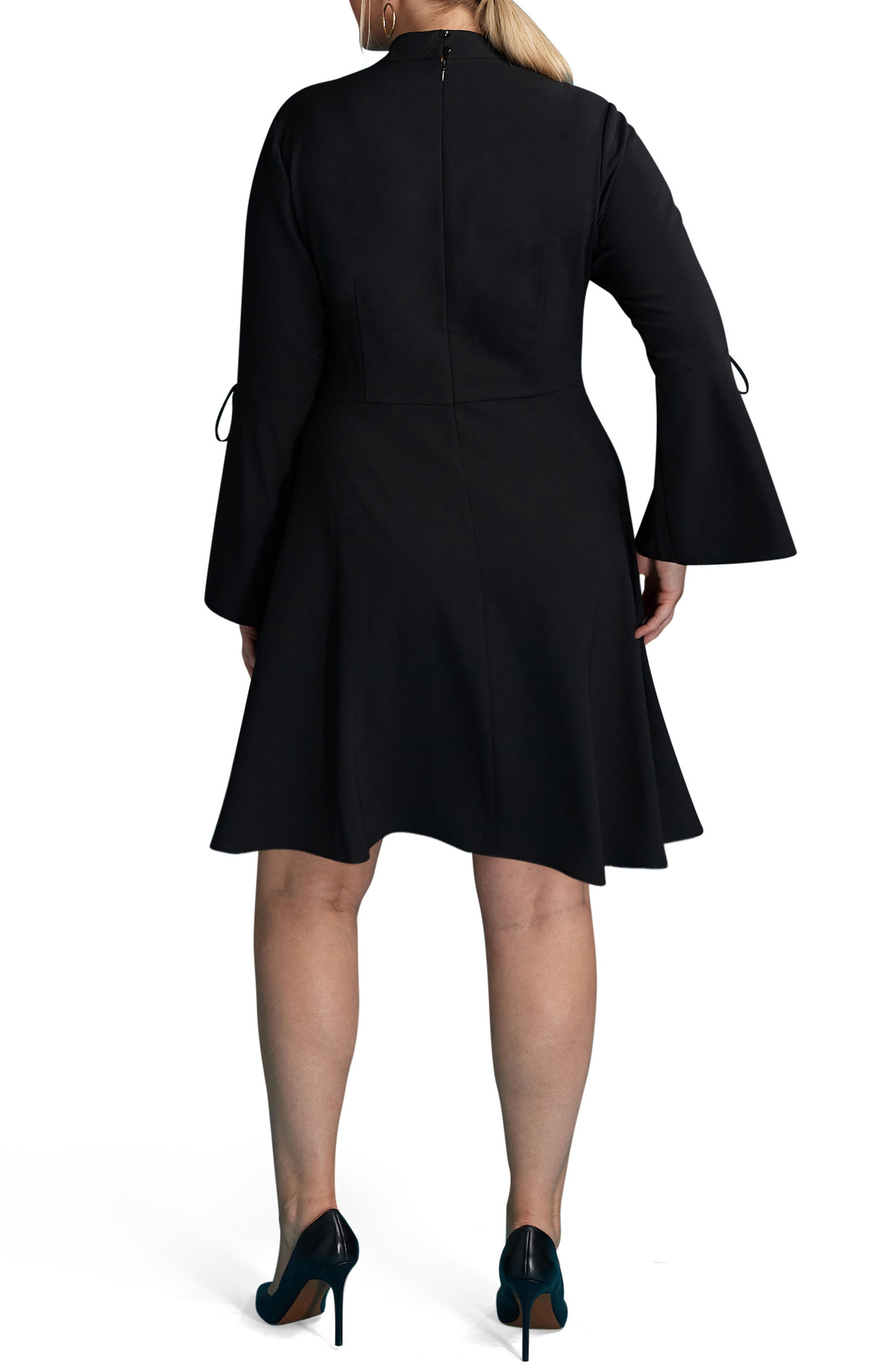 Bell Sleeve A-Line Dress,                             Alternate thumbnail 2, color,