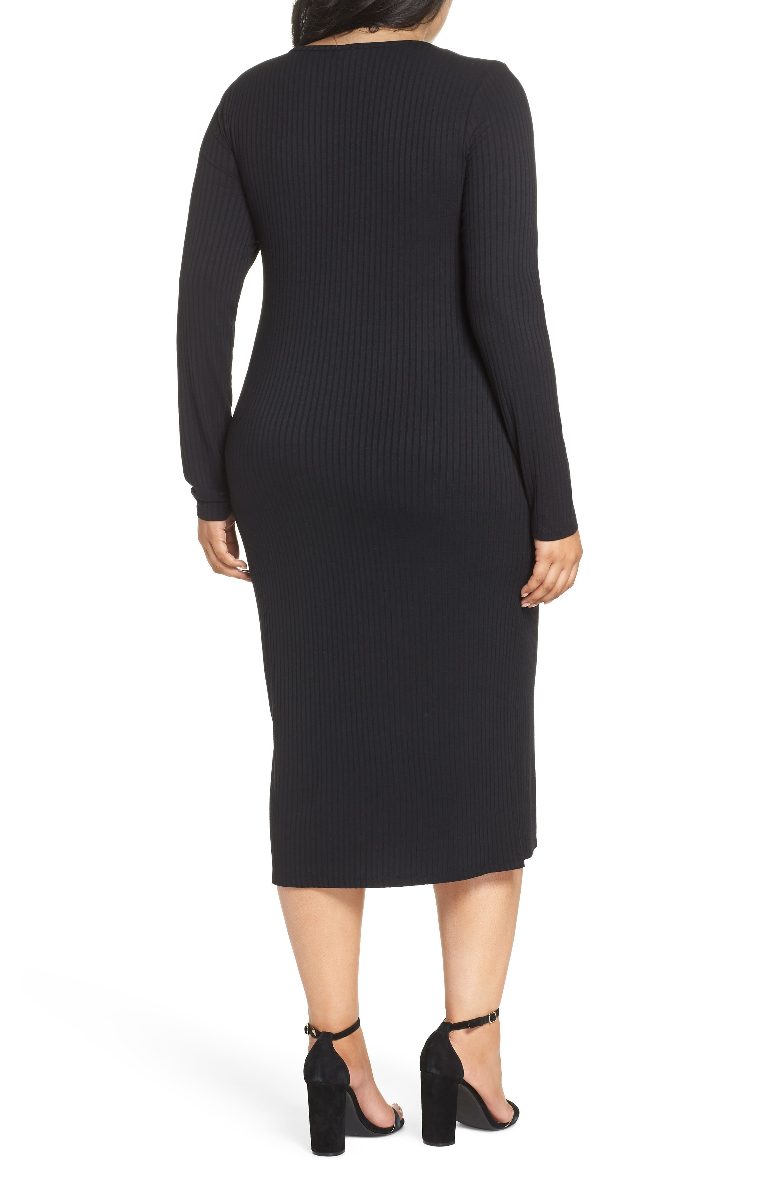 Ribbed Henley Midi Dress,                             Alternate thumbnail 9, color,                             BLACK