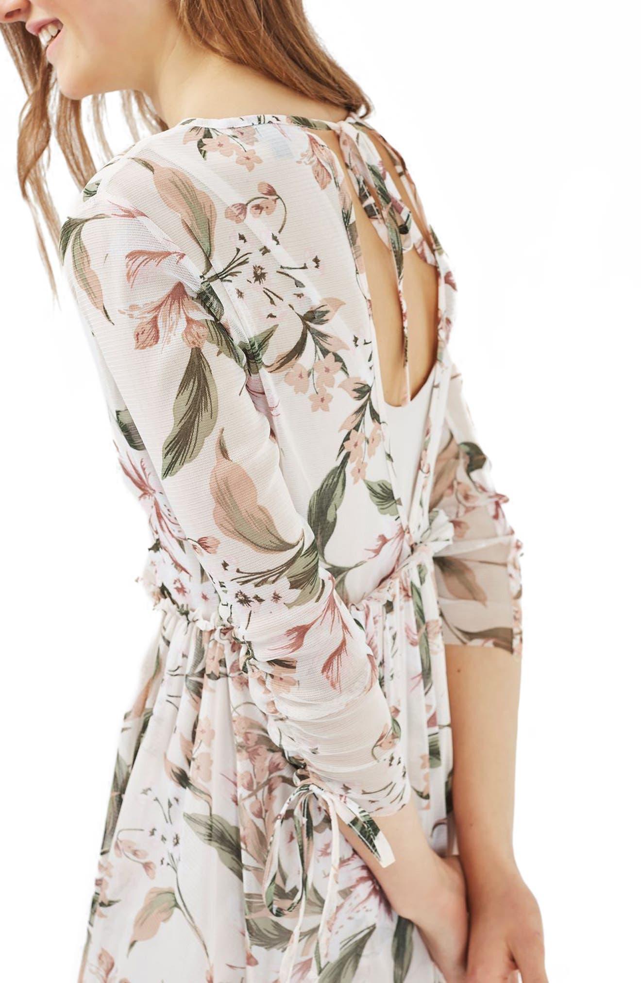 Lily Floral Mesh Dress,                             Alternate thumbnail 4, color,                             900