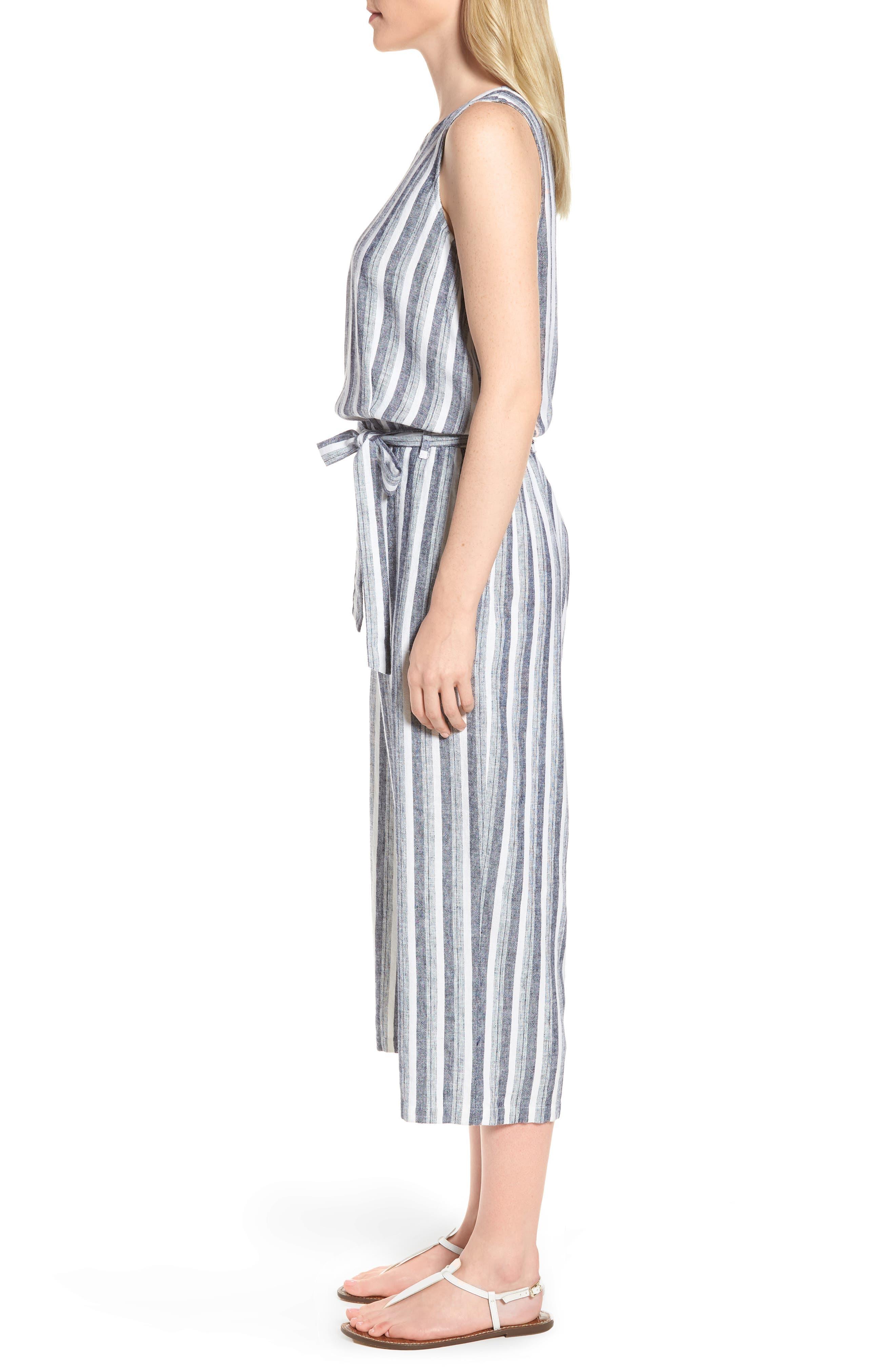 Shore Stripe Linen Blend Jumpsuit,                             Alternate thumbnail 3, color,                             145