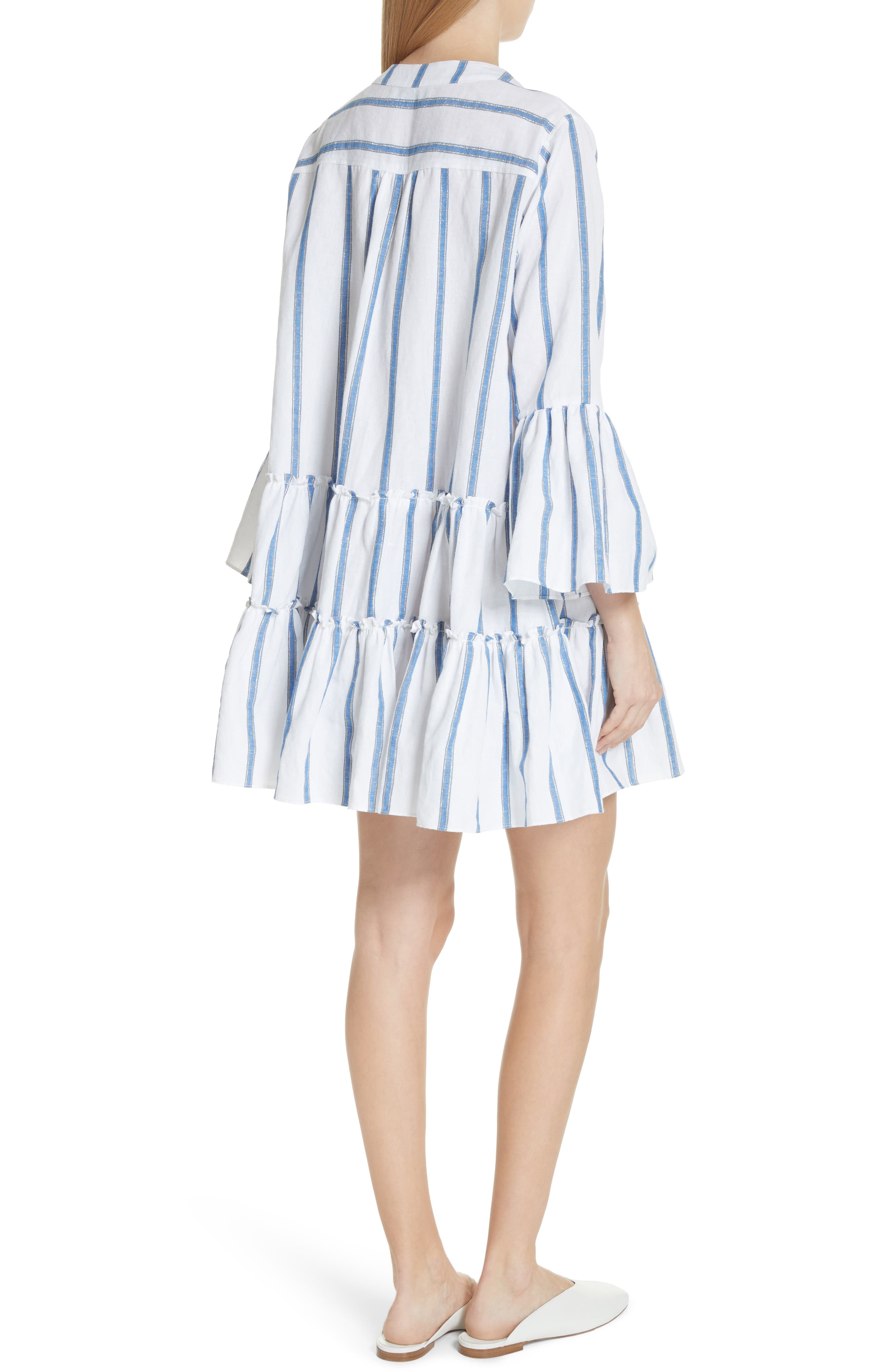 Lyssa Cotton & Linen Blend Dress,                             Alternate thumbnail 2, color,                             WHITE/ BLUE