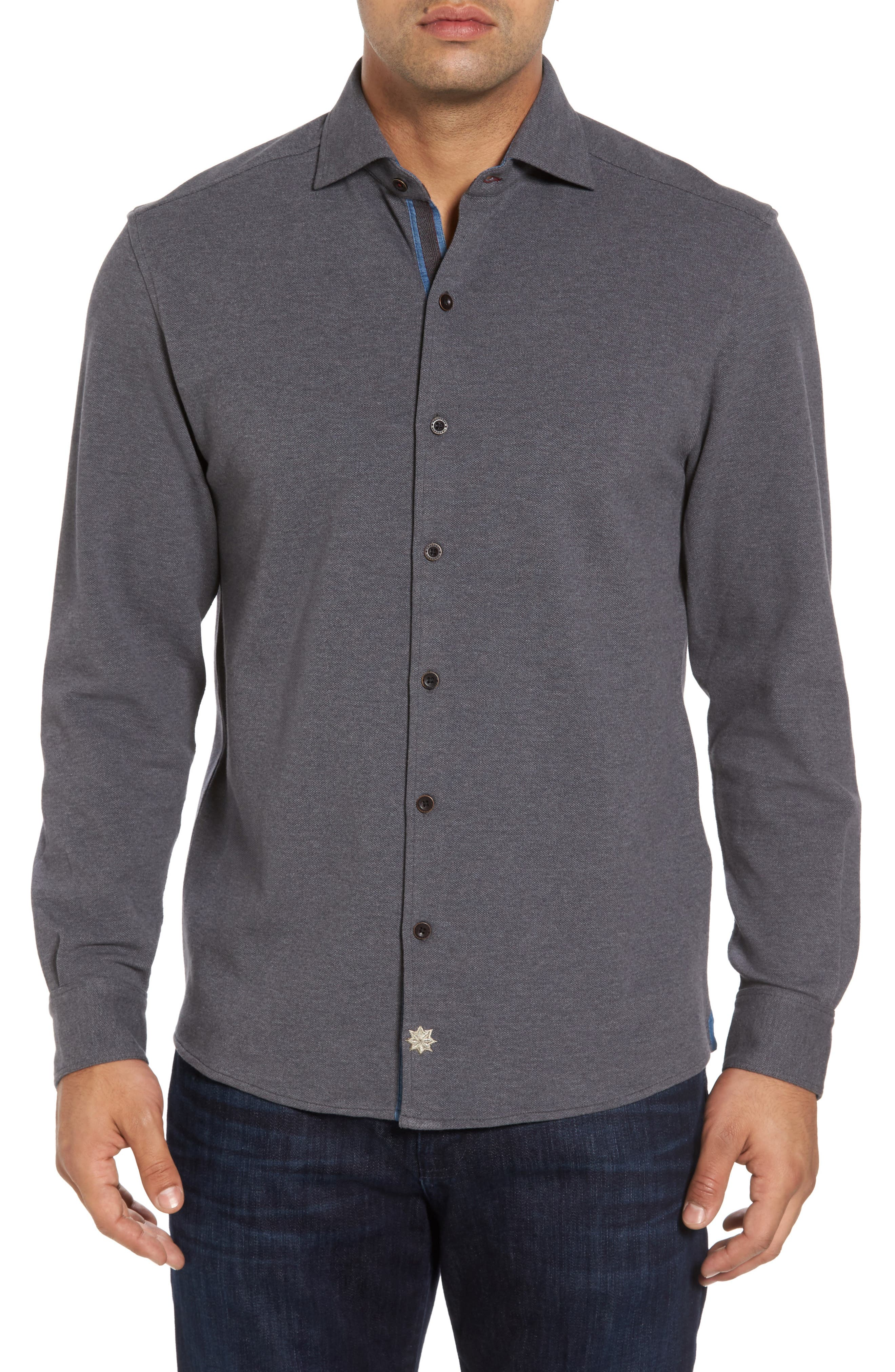 Shandy Heathered Knit Sport Shirt,                         Main,                         color, 014