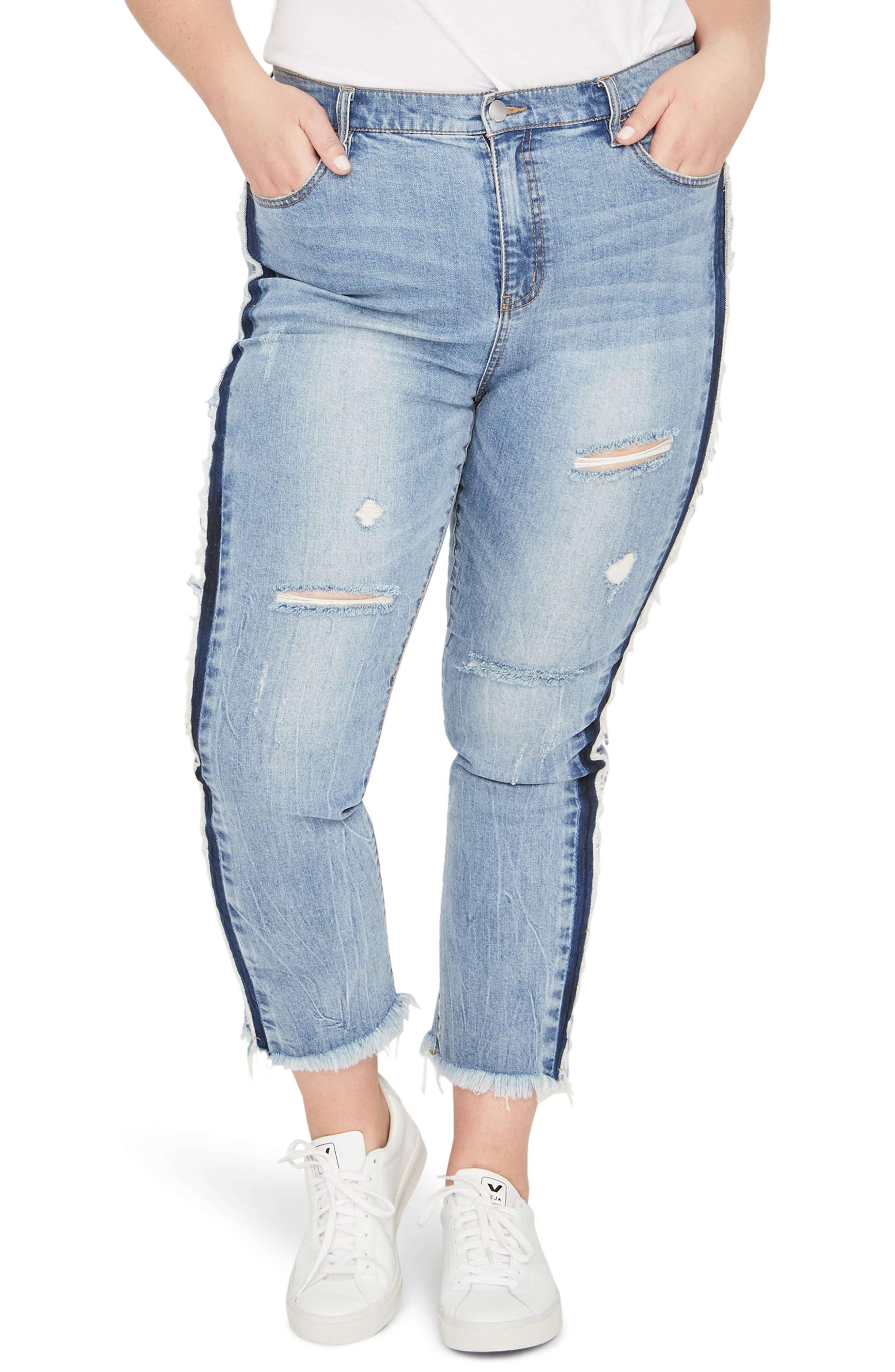 Shadow Side Stripe Raw Hem Crop Jeans,                             Main thumbnail 1, color,                             419