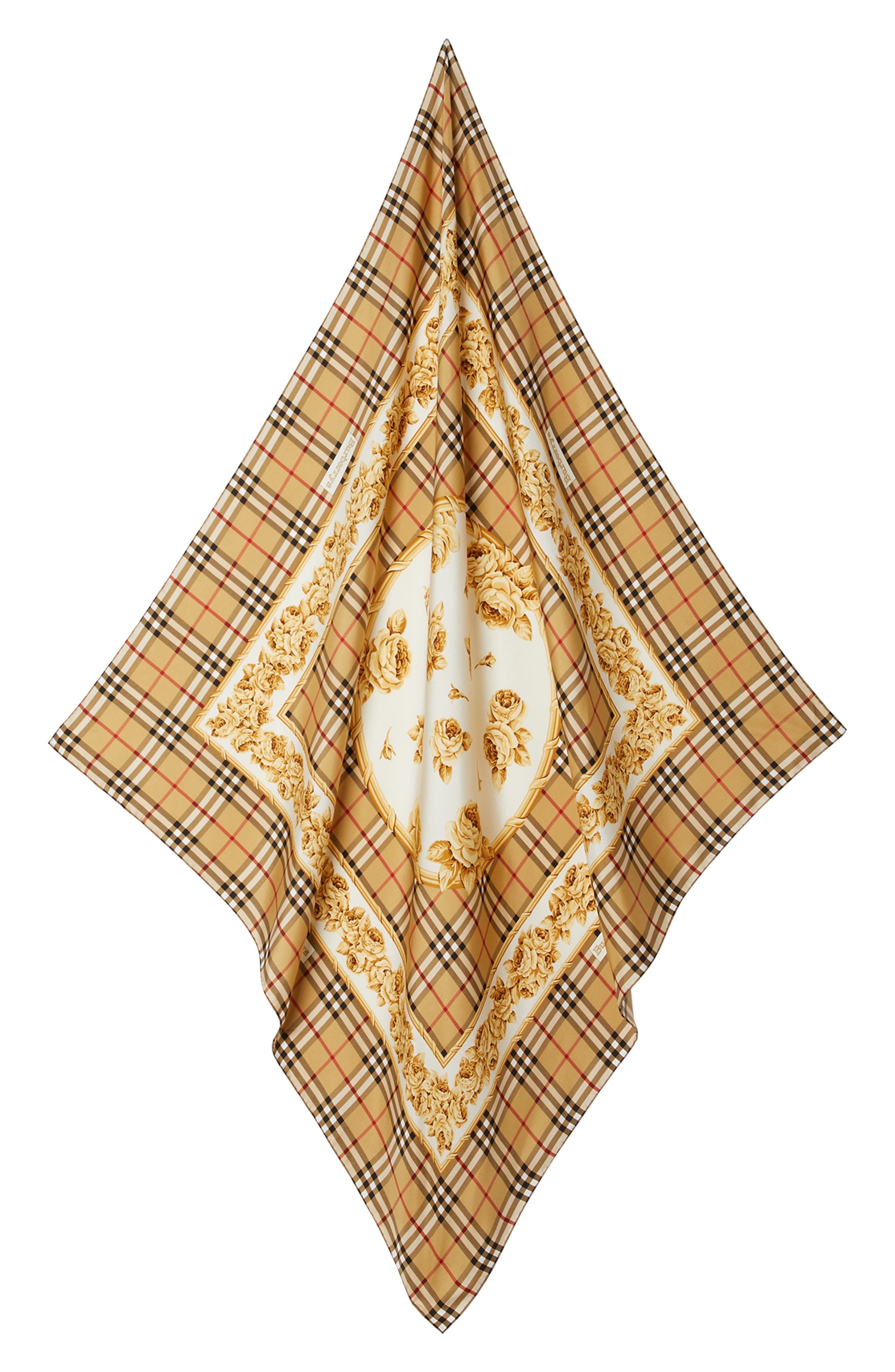 Check & Roses Square Silk Scarf,                         Main,                         color, ANTIQUE YELLOW