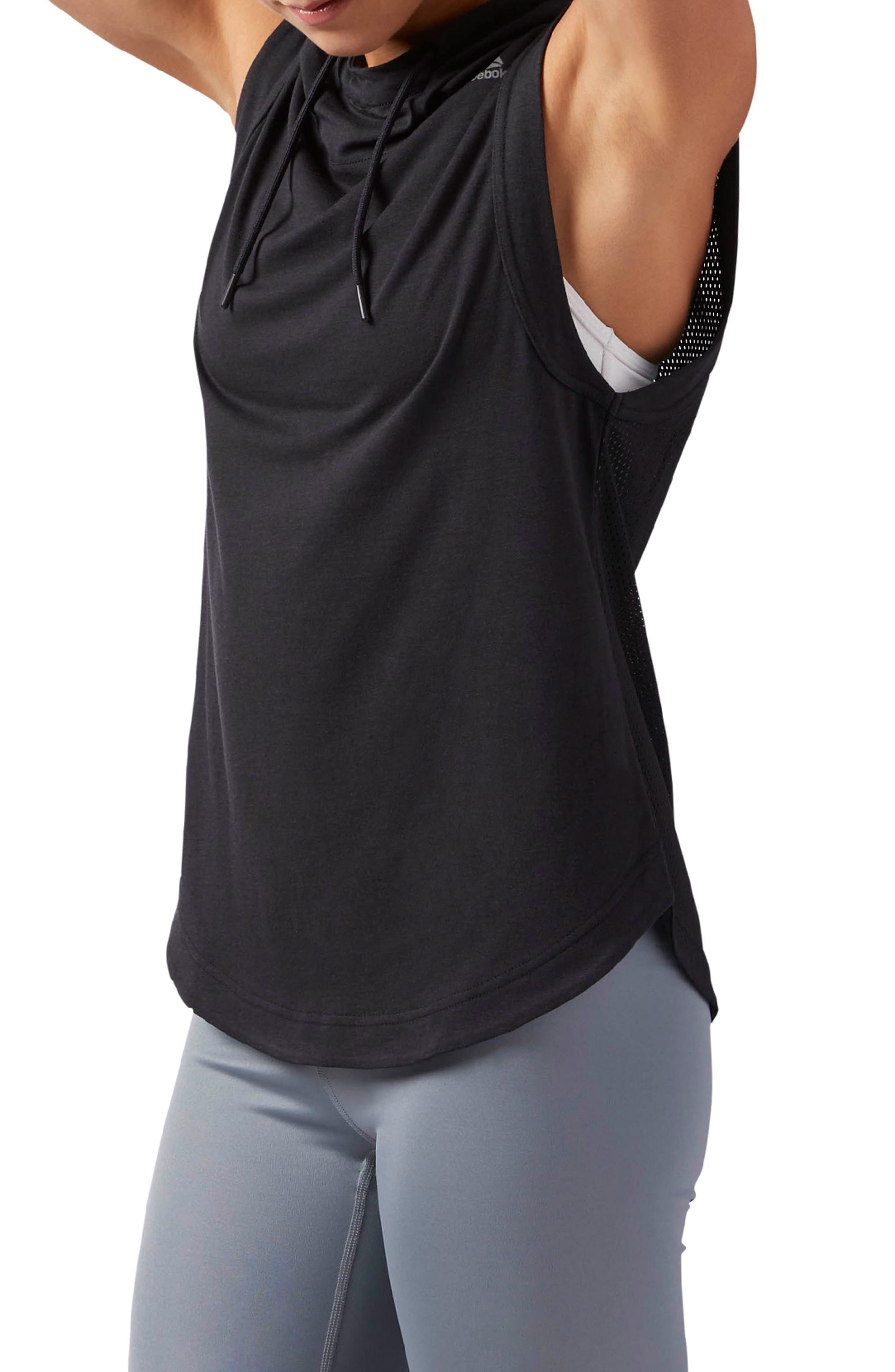 Workout Ready Sleeveless Hoodie,                             Alternate thumbnail 3, color,                             005