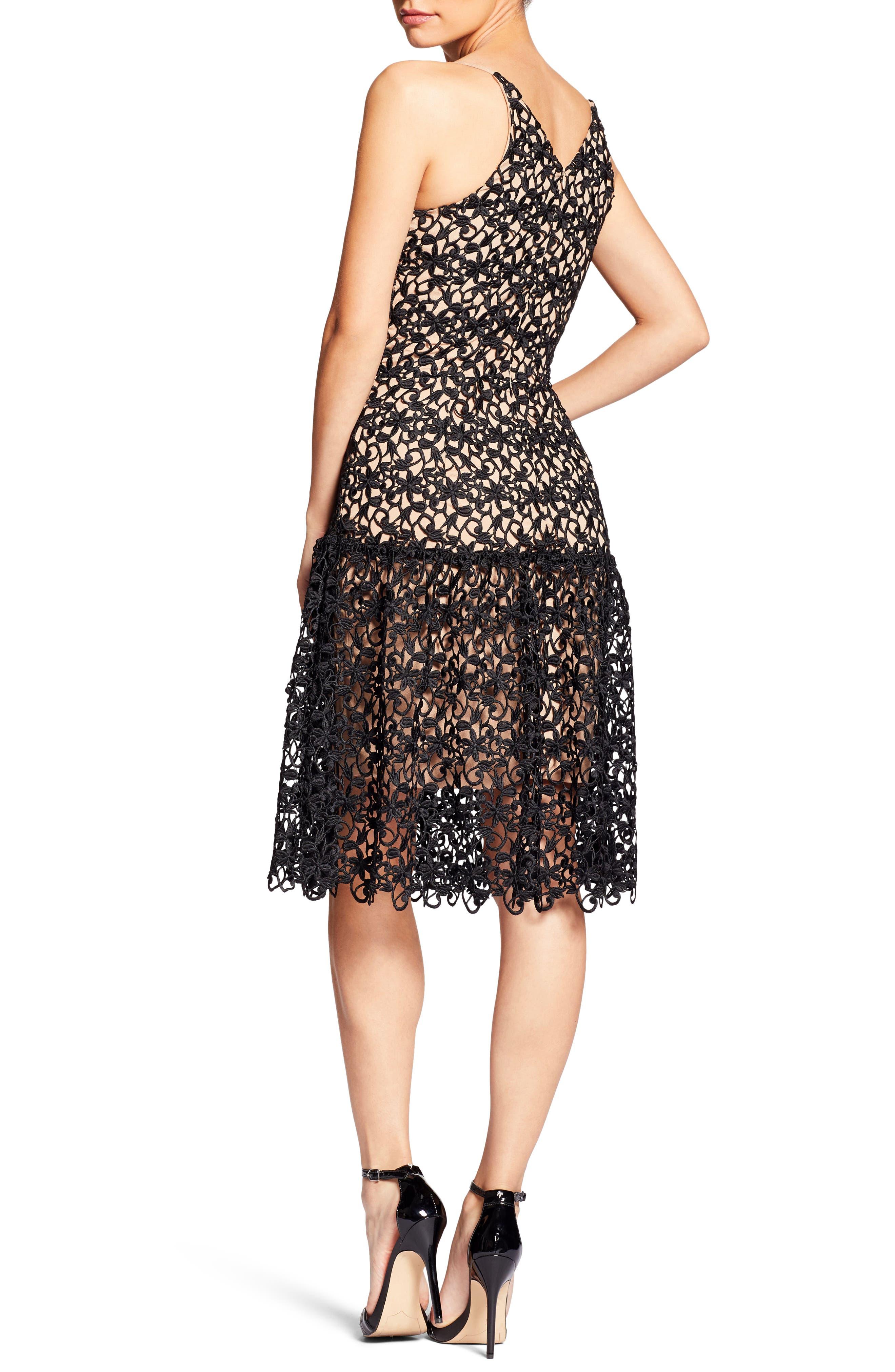 Lily Crochet Fit & Flare Dress,                             Alternate thumbnail 2, color,                             004
