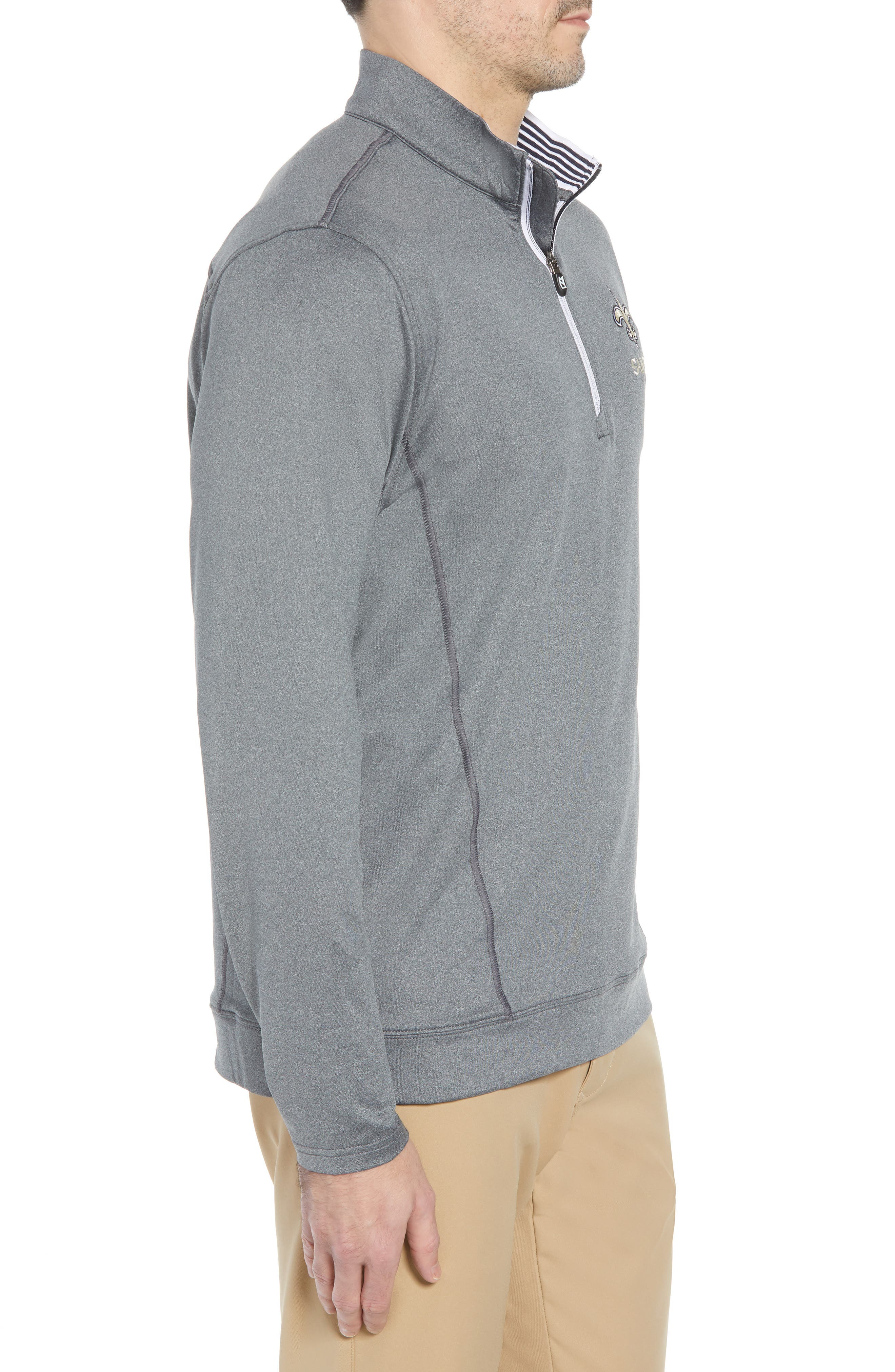 Endurance New Orleans Saints Regular Fit Pullover,                             Alternate thumbnail 3, color,                             CHARCOAL HEATHER