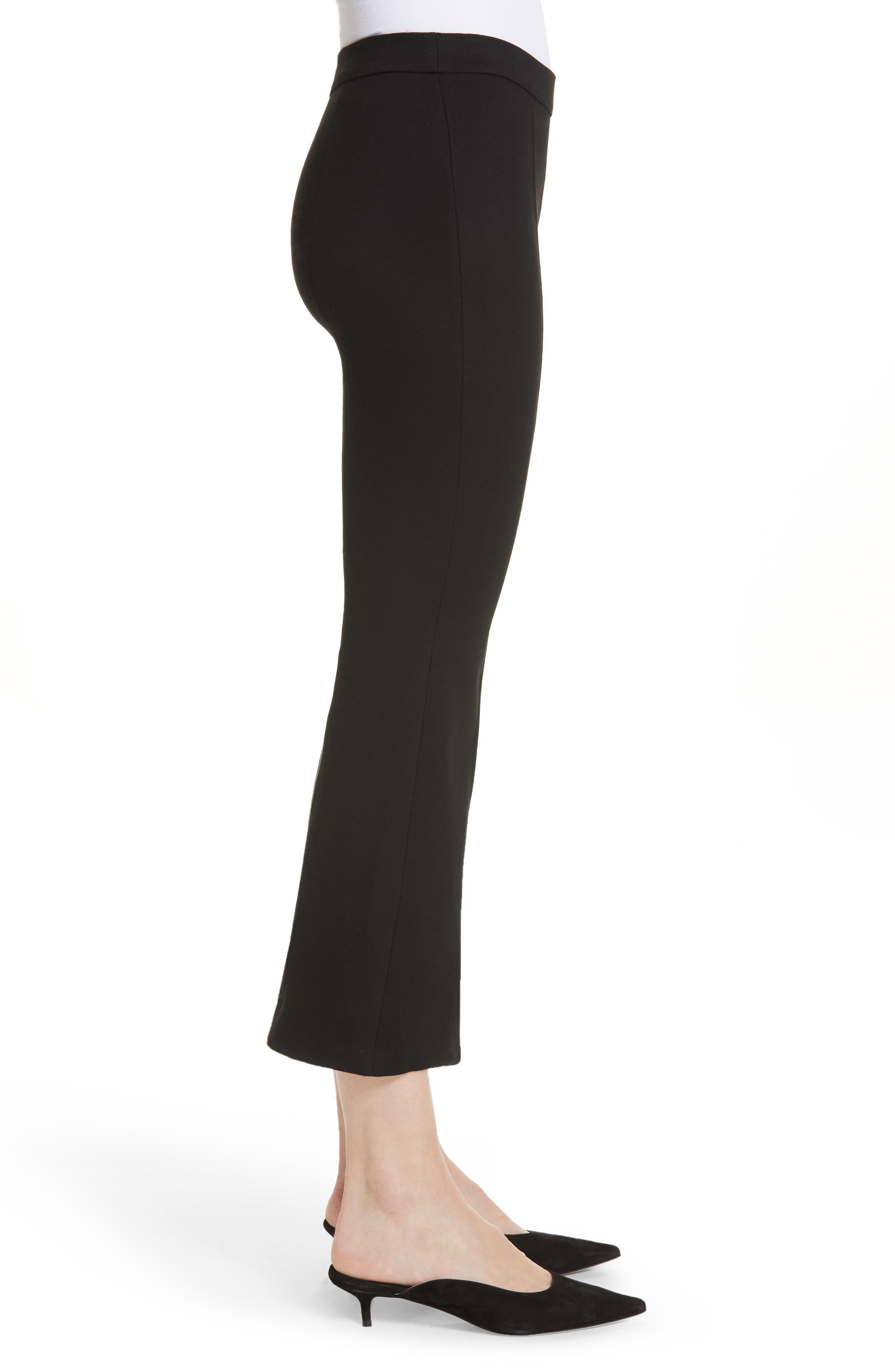 Crop Flare Jersey Pants,                             Alternate thumbnail 3, color,                             BLACK