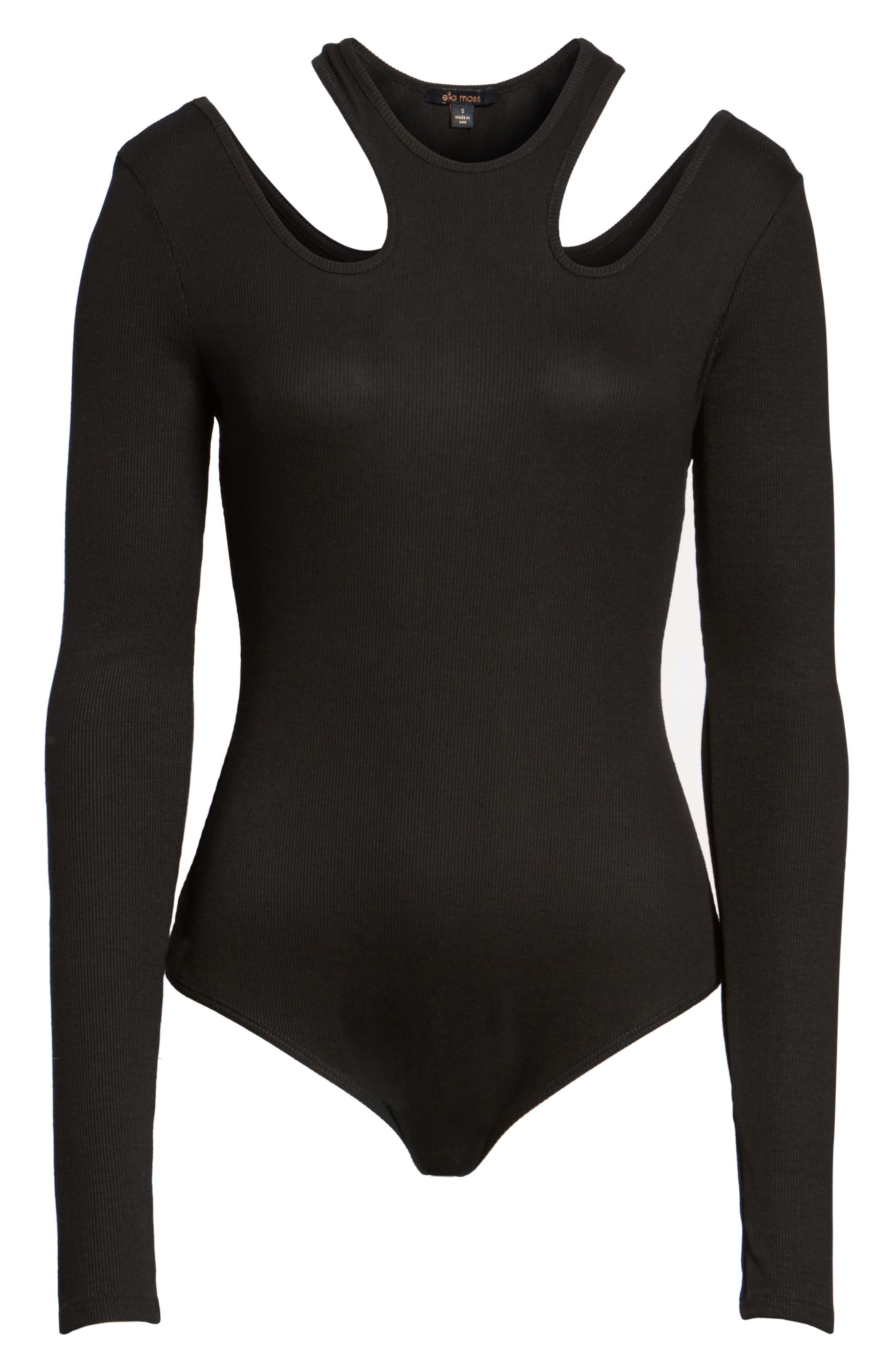 Cutout Bodysuit,                             Alternate thumbnail 6, color,                             001