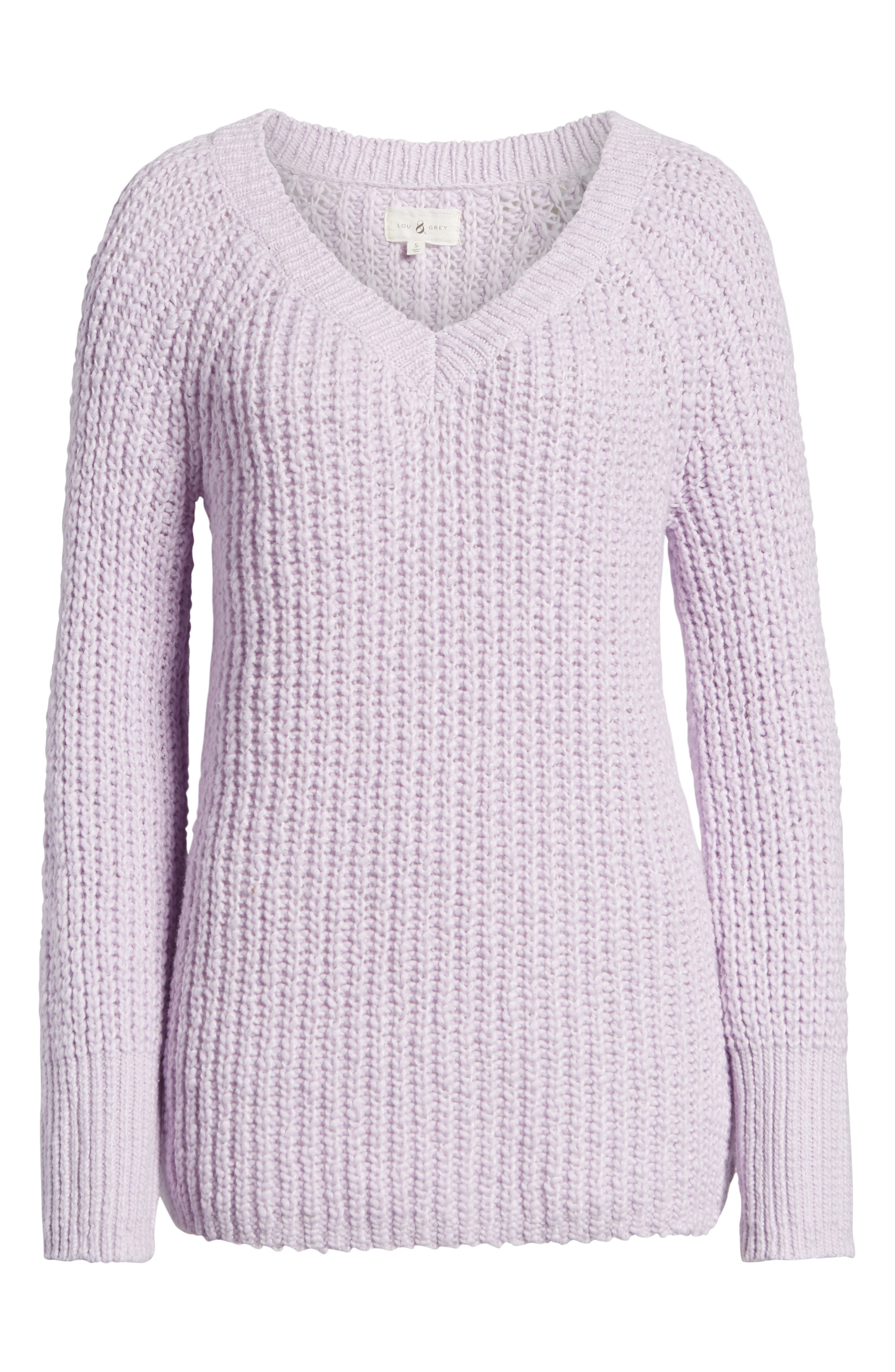 Cozystitch V-Neck Sweater,                             Alternate thumbnail 6, color,                             LILAC