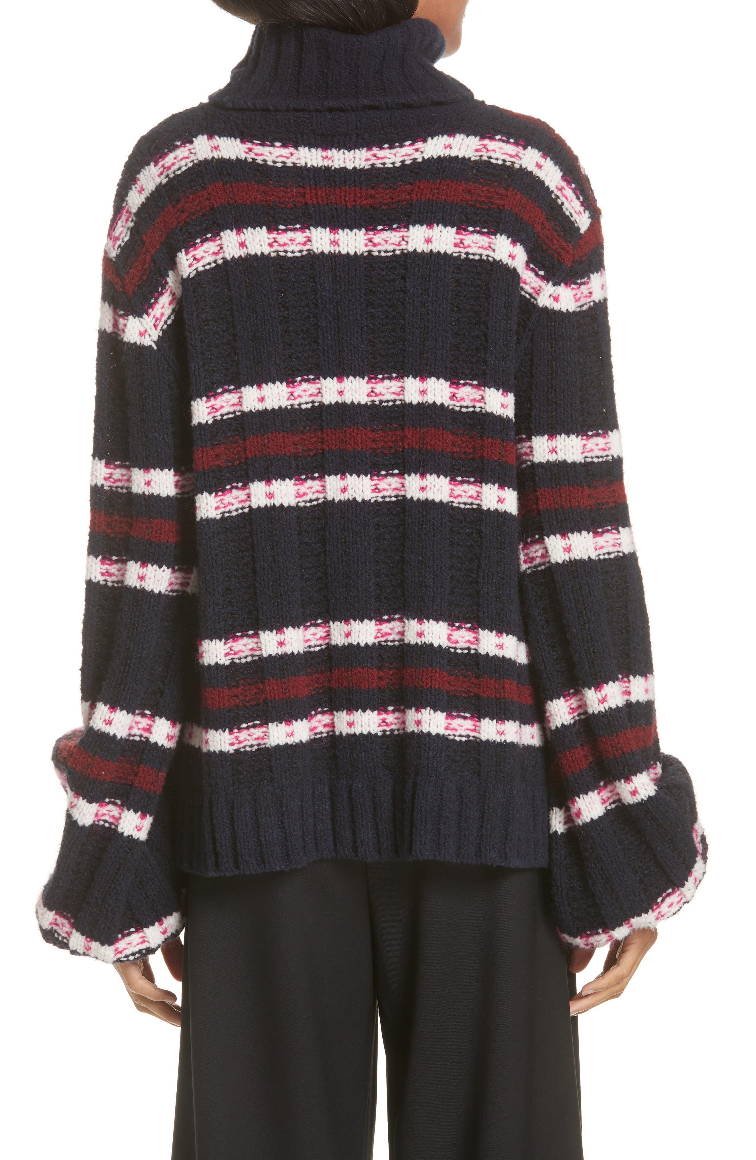 Zaira Stripe Turtleneck Sweater,                             Alternate thumbnail 2, color,                             001