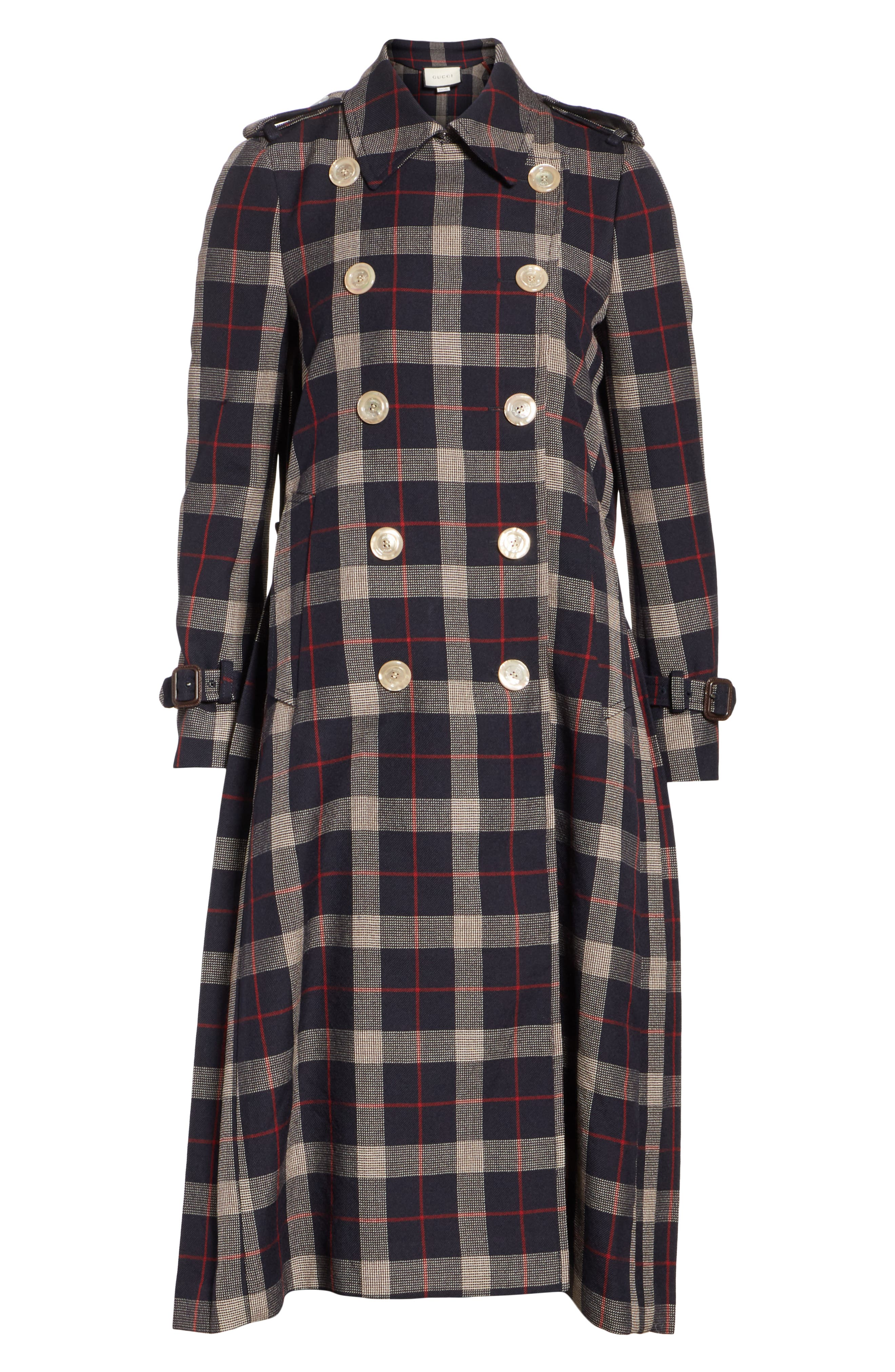 Oversize Check Pleated Back Coat,                             Alternate thumbnail 4, color,                             INK/ RED/ ROSE BUD