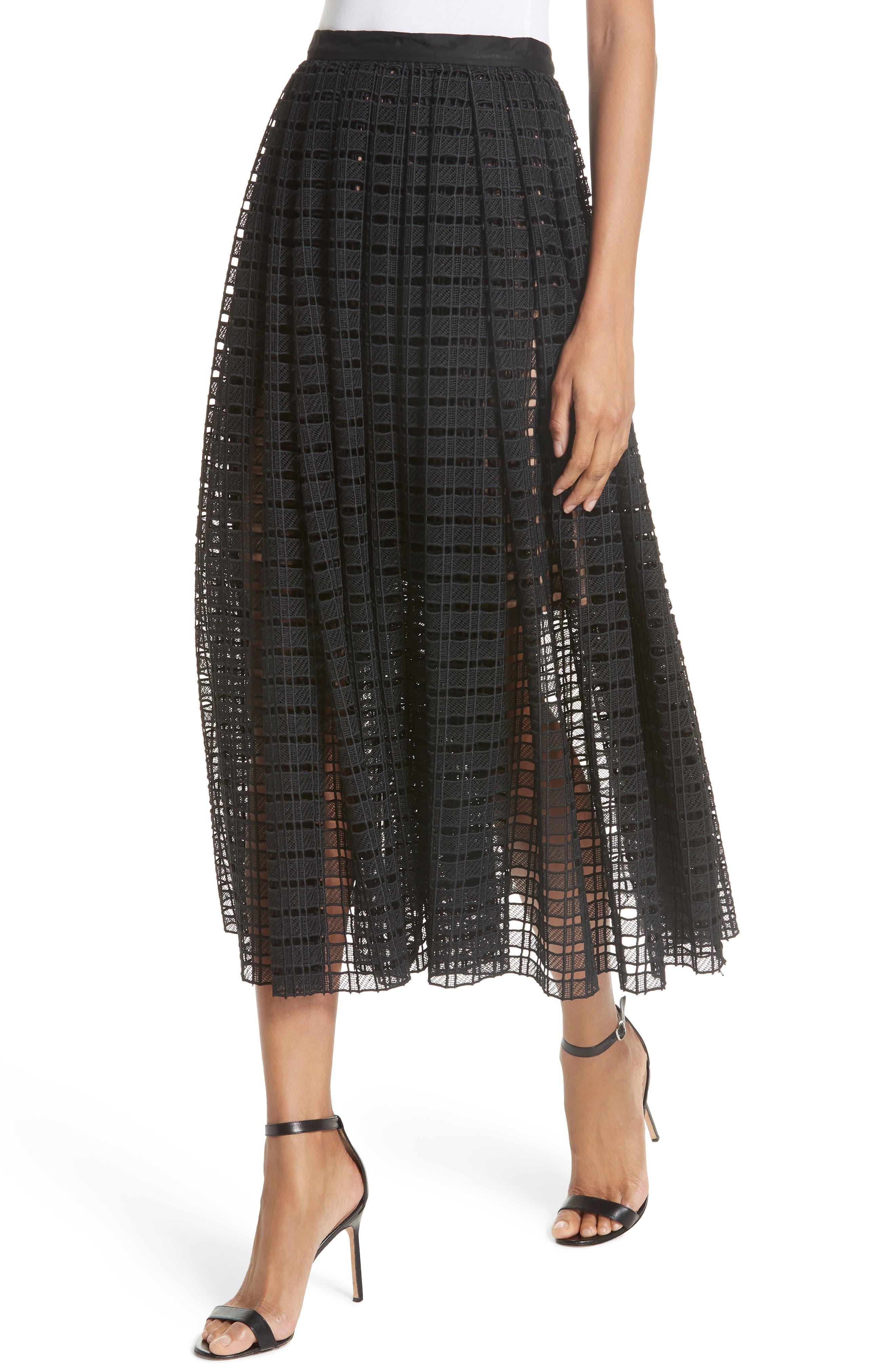 Lace Mesh Midi Skirt,                             Alternate thumbnail 4, color,                             001