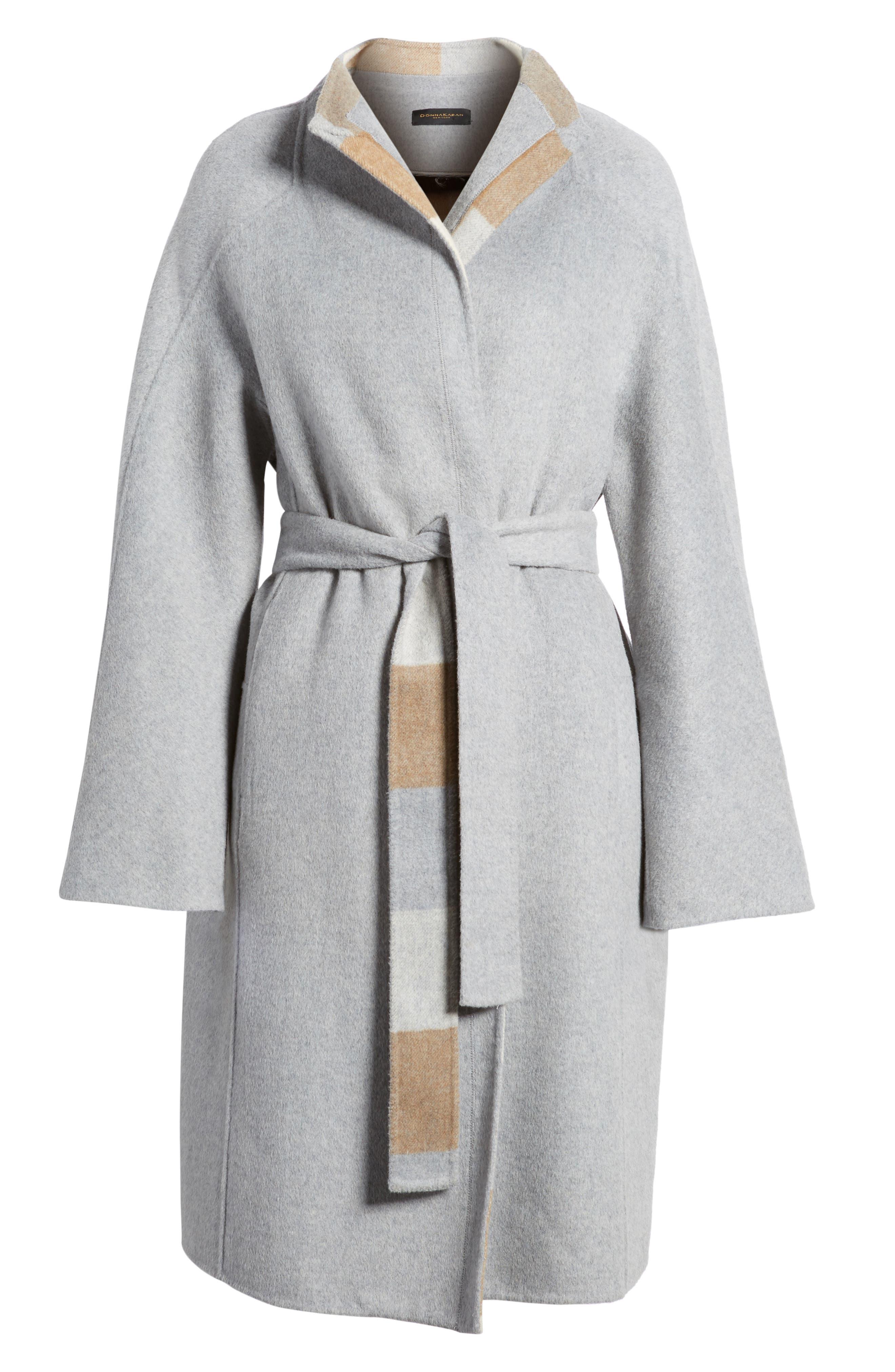 DKNY Wool Blend Wrap Coat,                             Alternate thumbnail 5, color,