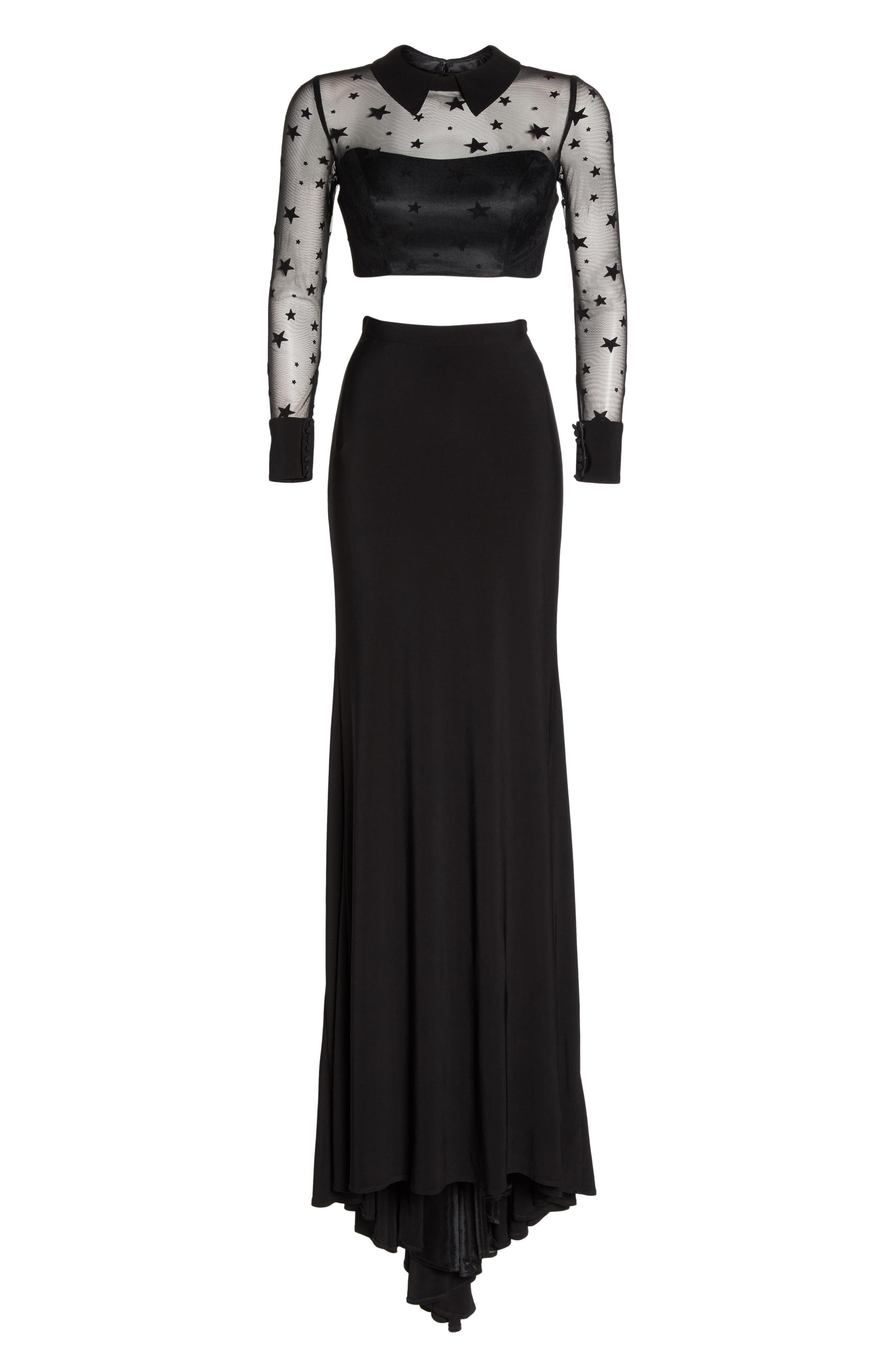 Star Mesh Two-Piece Gown,                             Alternate thumbnail 6, color,                             BLACK