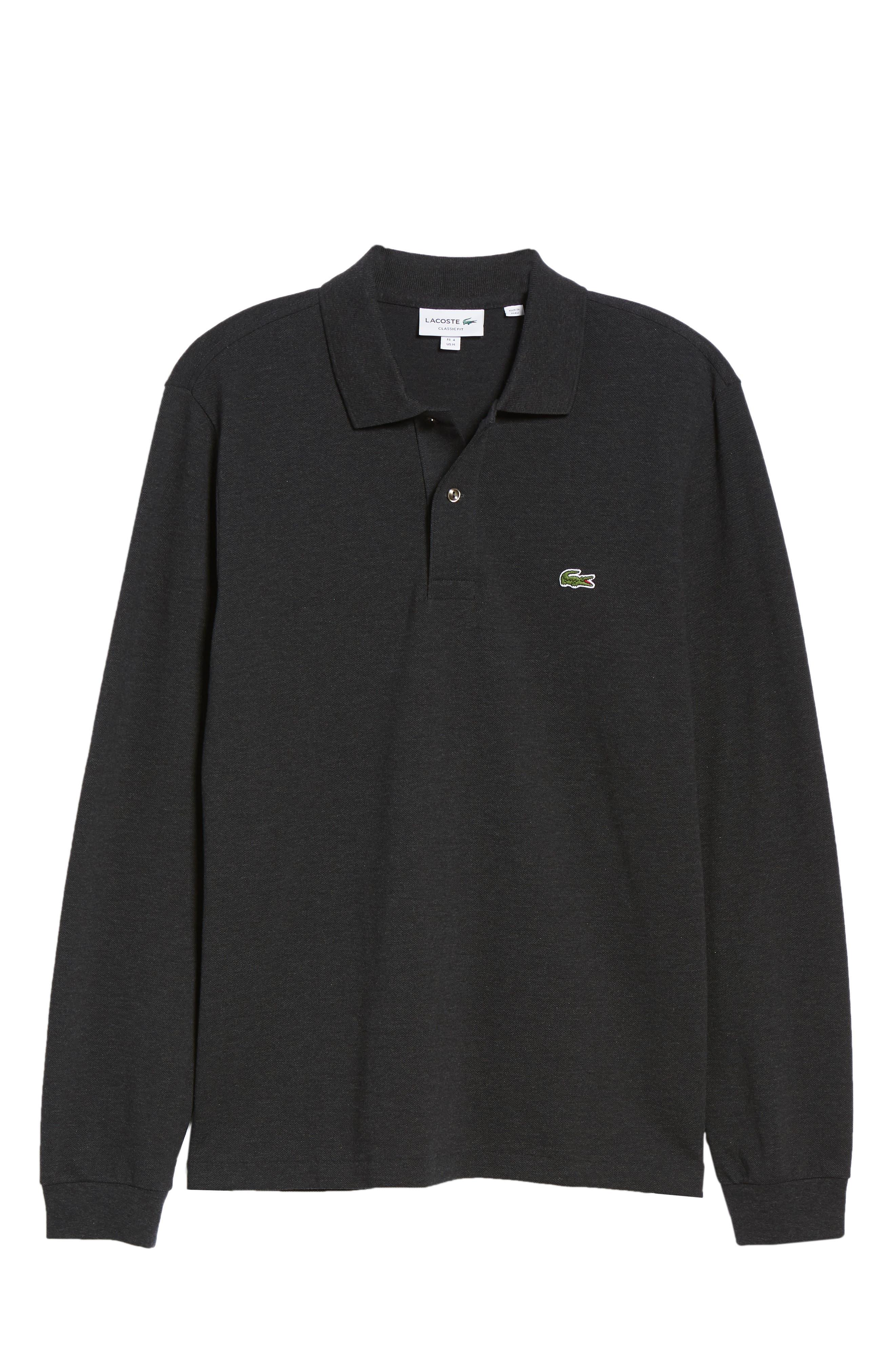 Long Sleeve Piqué Polo,                             Alternate thumbnail 6, color,                             LIGHTNING CHINE