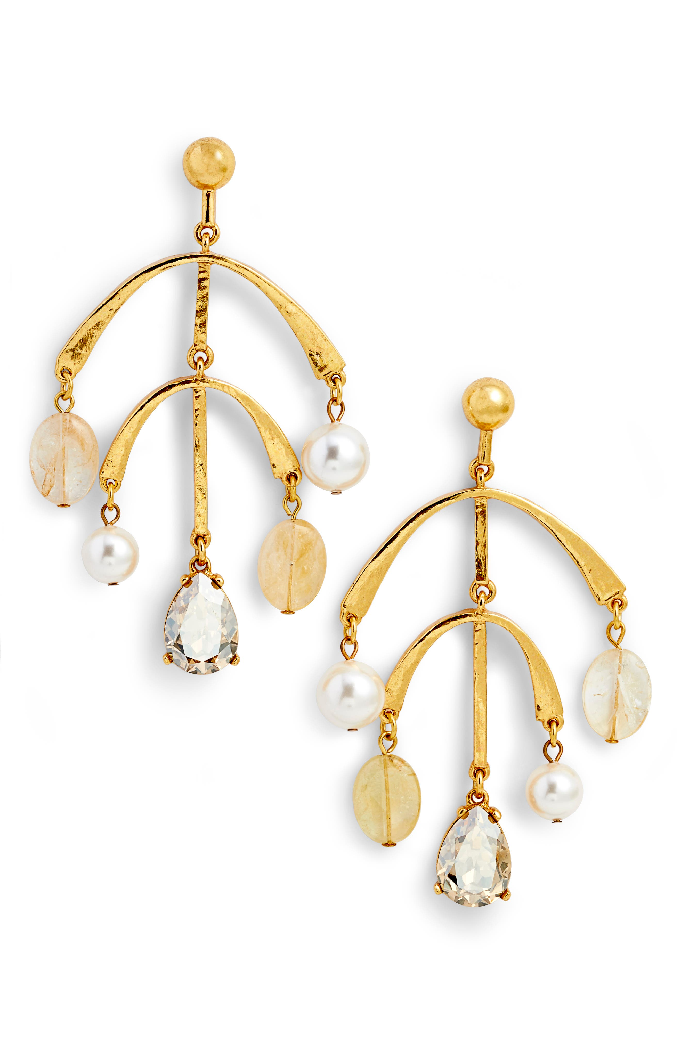 Mobile Drop Earring with Imitation Pearl,                             Main thumbnail 1, color,                             040