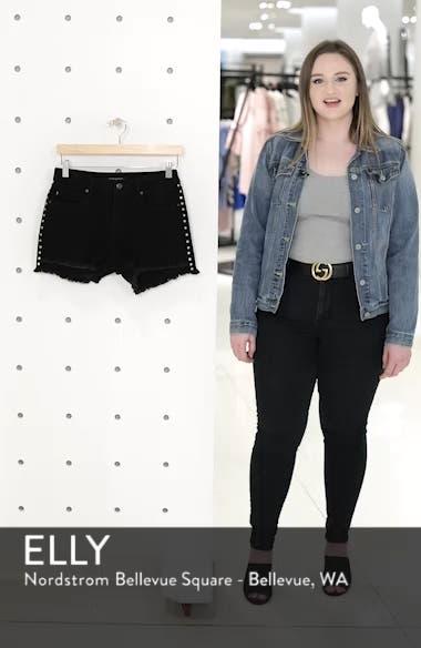 Studded Step Hem Denim Cutoff Shorts, sales video thumbnail