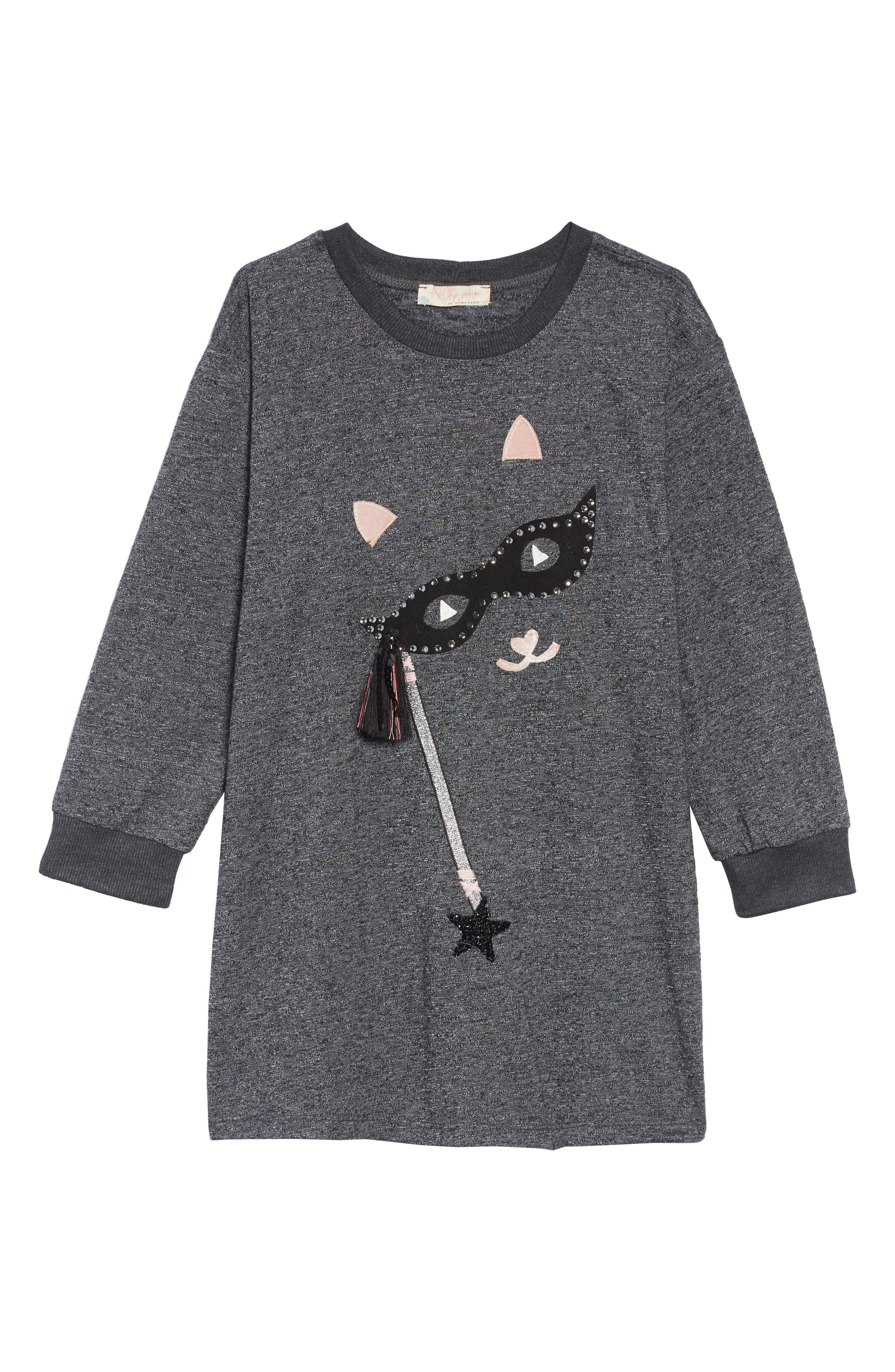 Cat with the Mask T-Shirt Dress,                             Main thumbnail 1, color,                             020