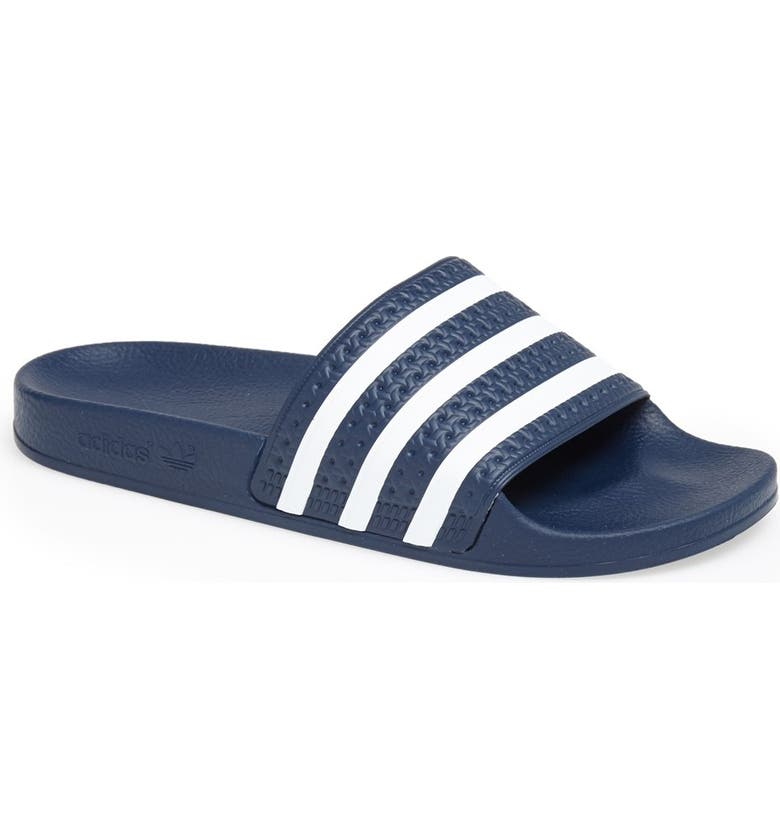 premium selection 6d5e1 46b98 ADIDAS Adilette Slide Sandal, Main, color, NEW NAVY WHITE