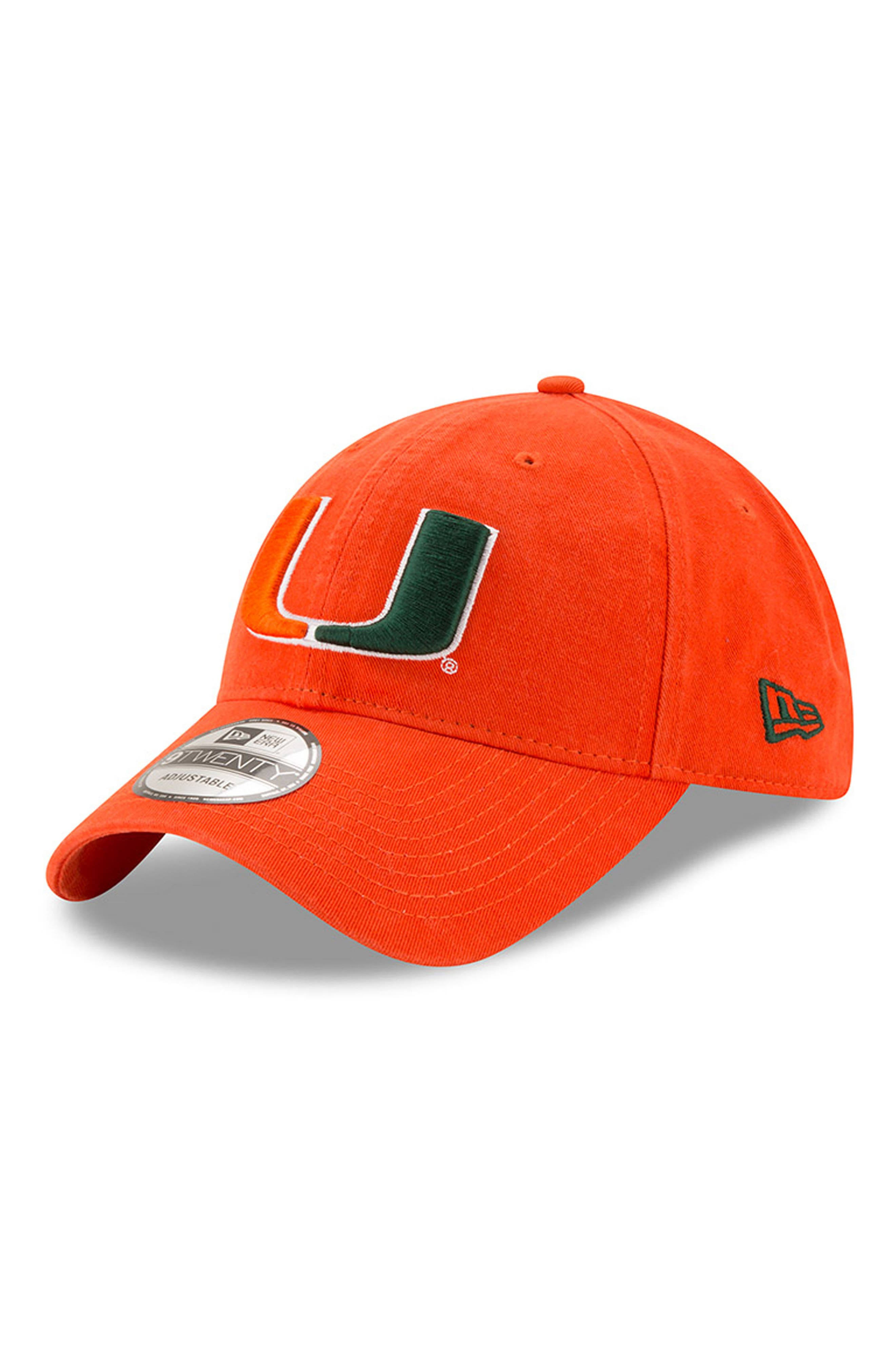 New Era Collegiate Core Classic - Miami Hurricanes Baseball Cap,                             Main thumbnail 1, color,