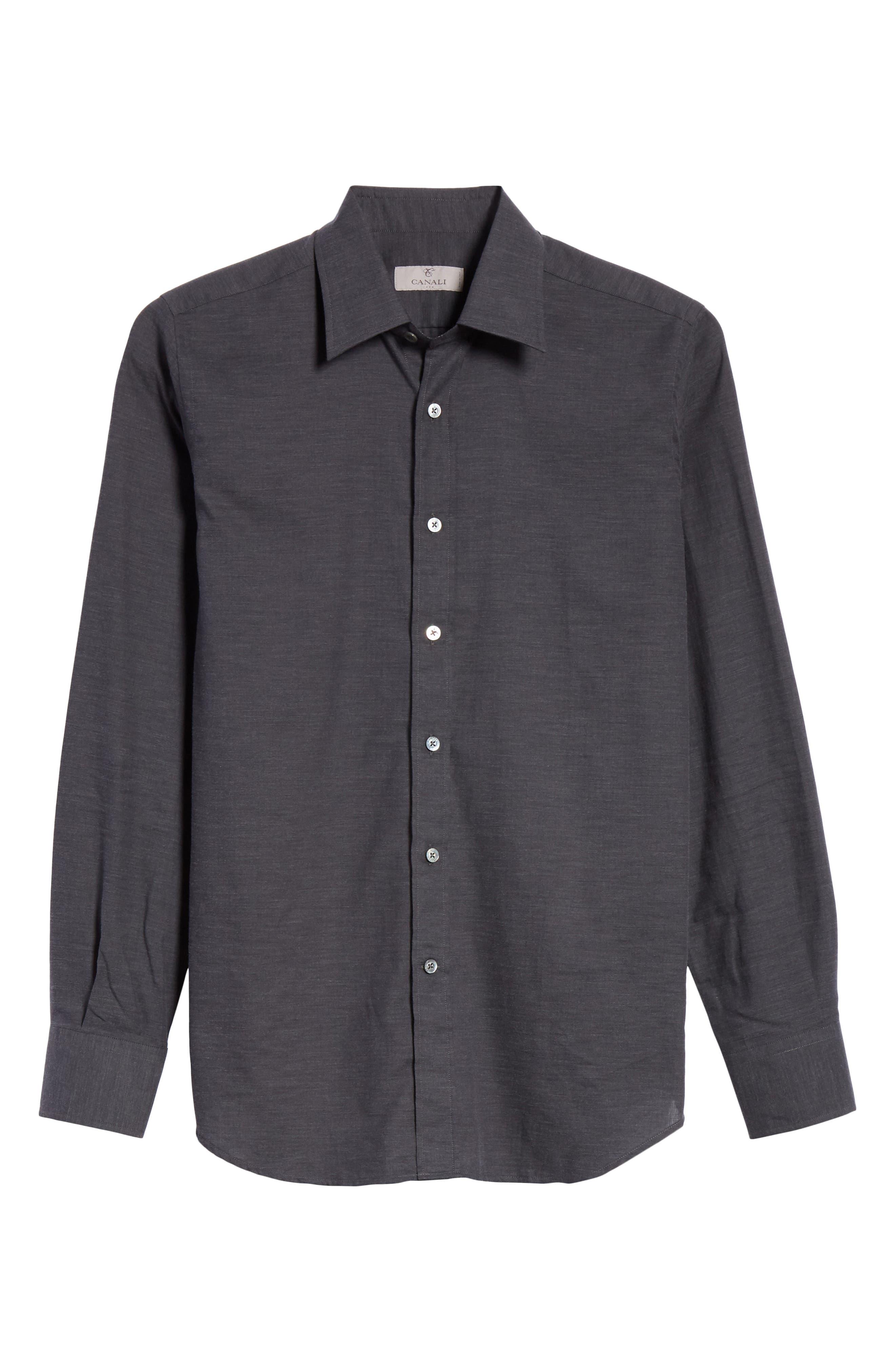 Classic Fit Herringbone Sport Shirt,                             Alternate thumbnail 6, color,                             CHARCOAL