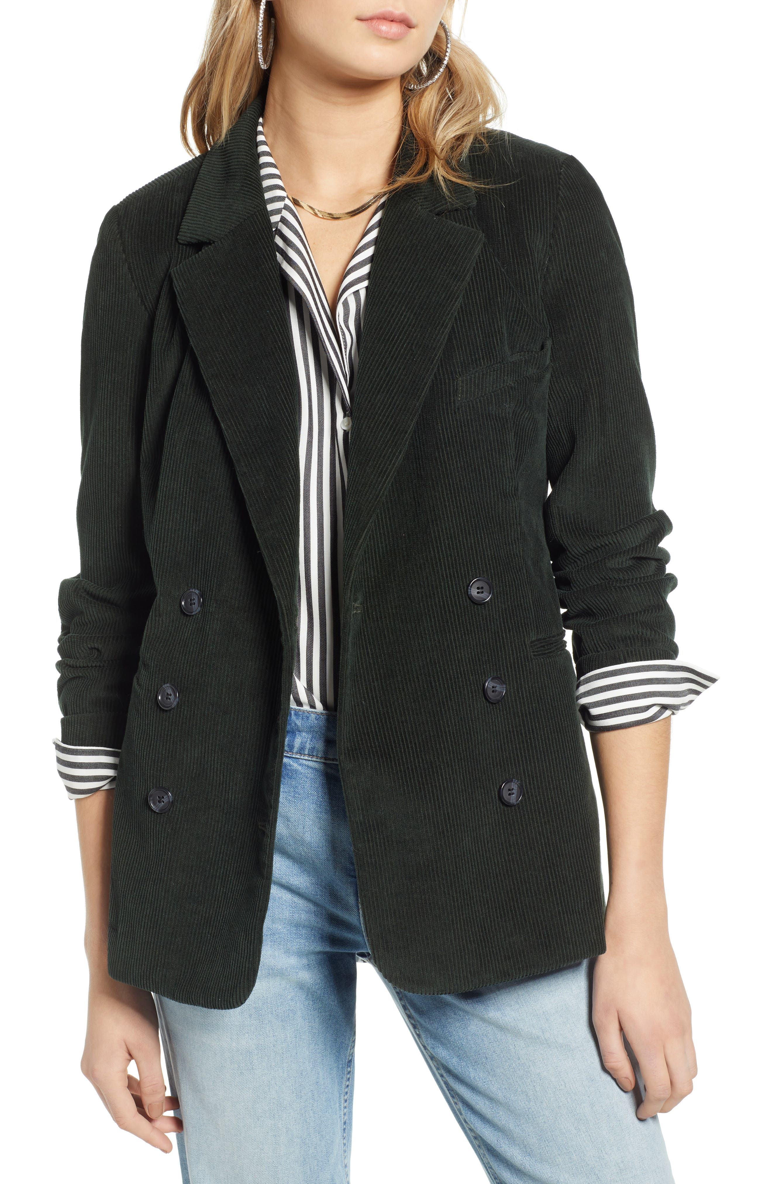 Double Breasted Corduroy Blazer, Main, color, GREEN TIMBER