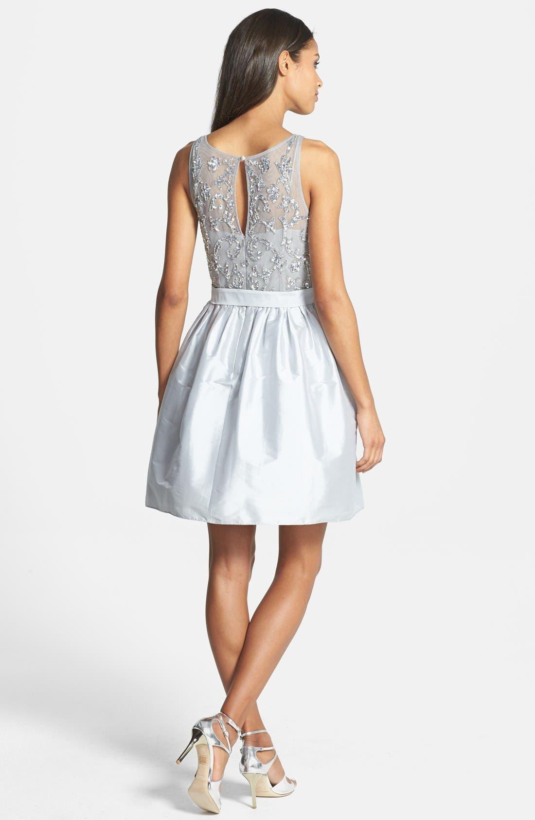 Embellished Bodice Taffeta Fit & Flare Dress,                             Alternate thumbnail 3, color,                             040