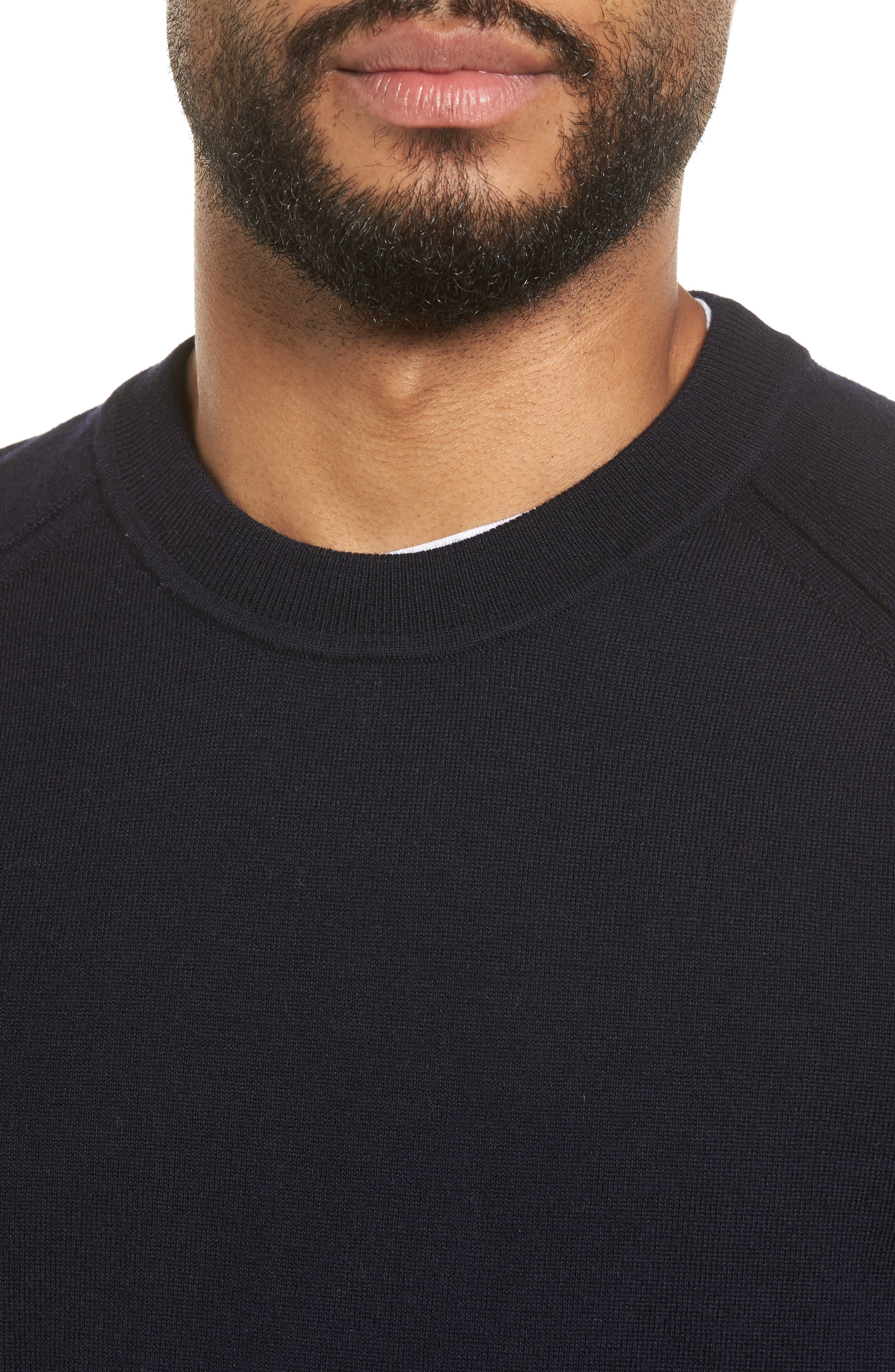 Raw Seam Merino Wool Sweater,                             Alternate thumbnail 4, color,                             NEW COASTAL
