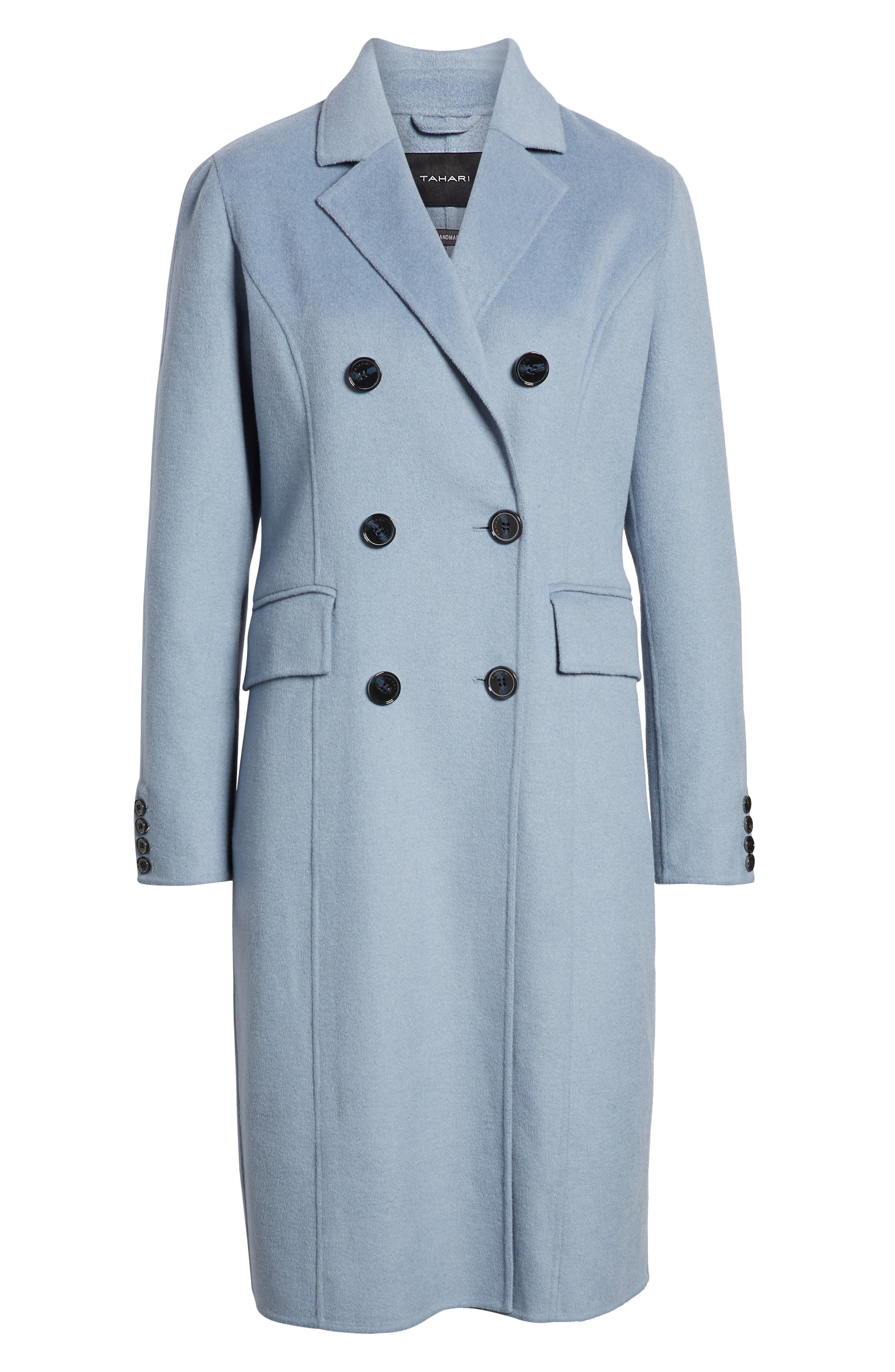 Taylor Double Breasted Wool Coat,                             Alternate thumbnail 6, color,                             PALE BLUE