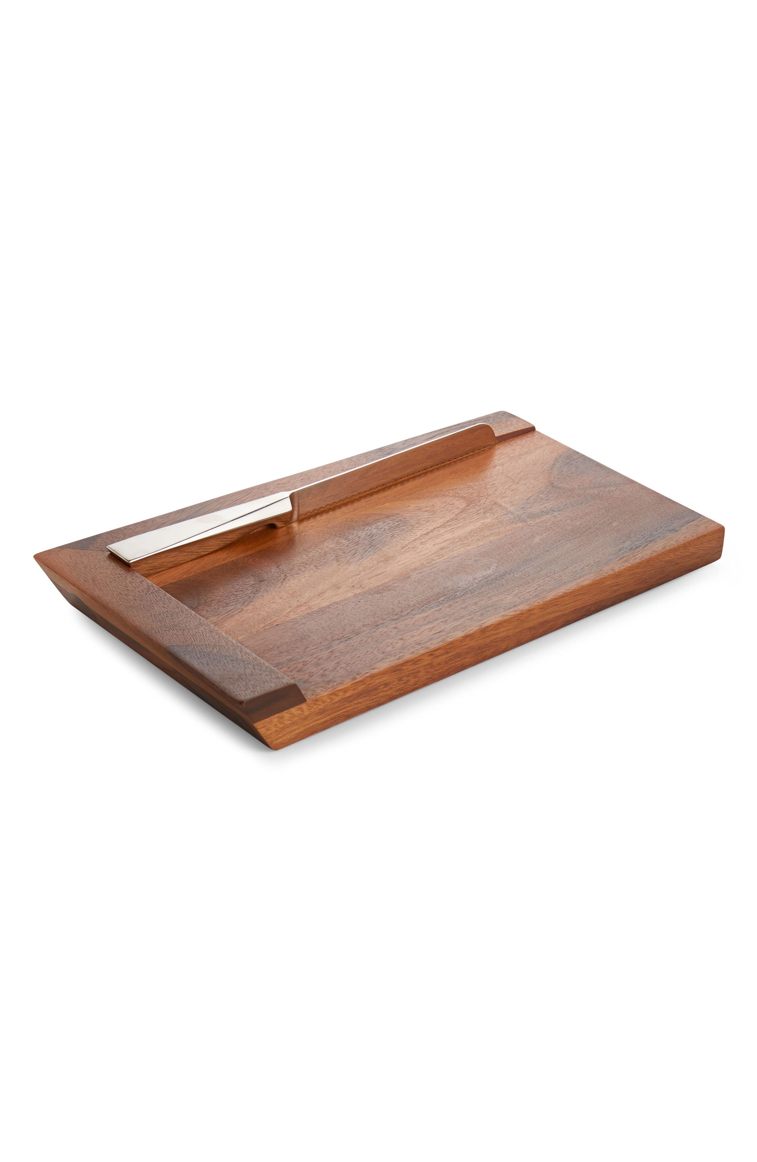 Geo Challah Bread Board with Knife,                         Main,                         color, SILVER WOOD