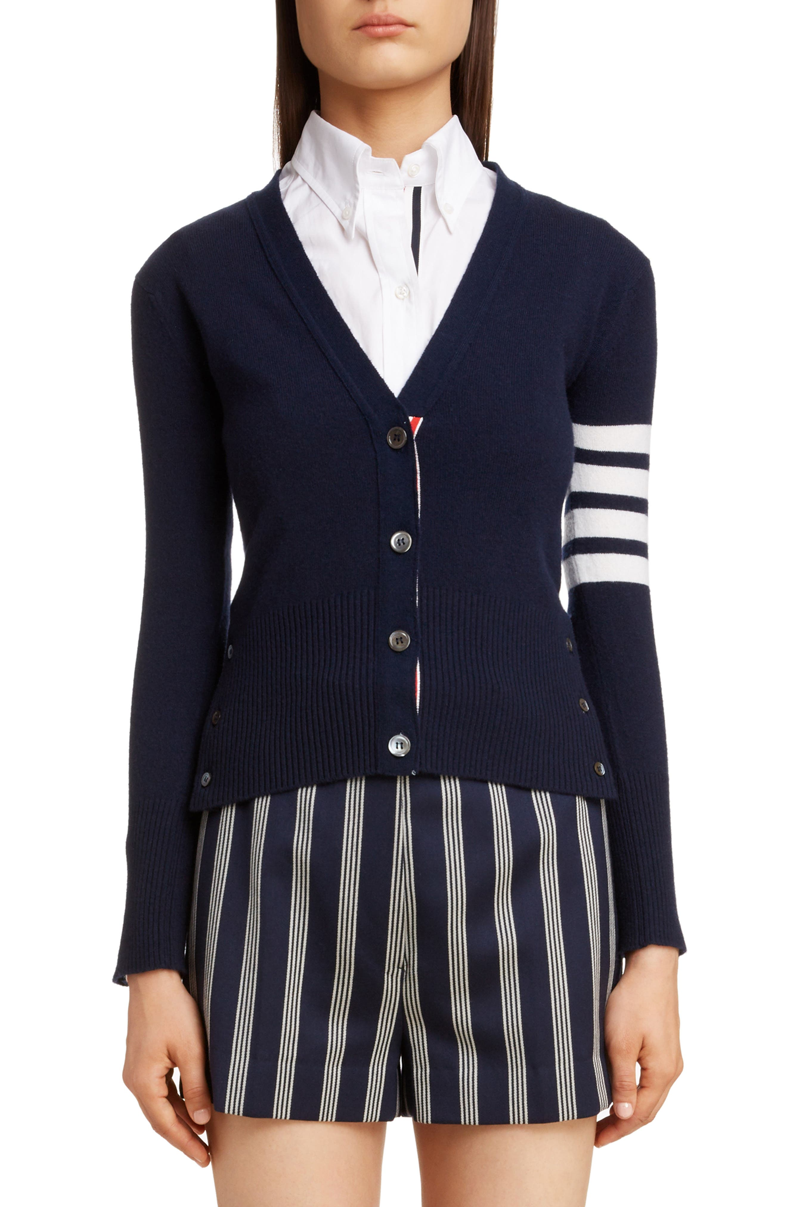 THOM BROWNE,                             Classic V-Neck Cashmere Cardigan,                             Main thumbnail 1, color,                             NAVY