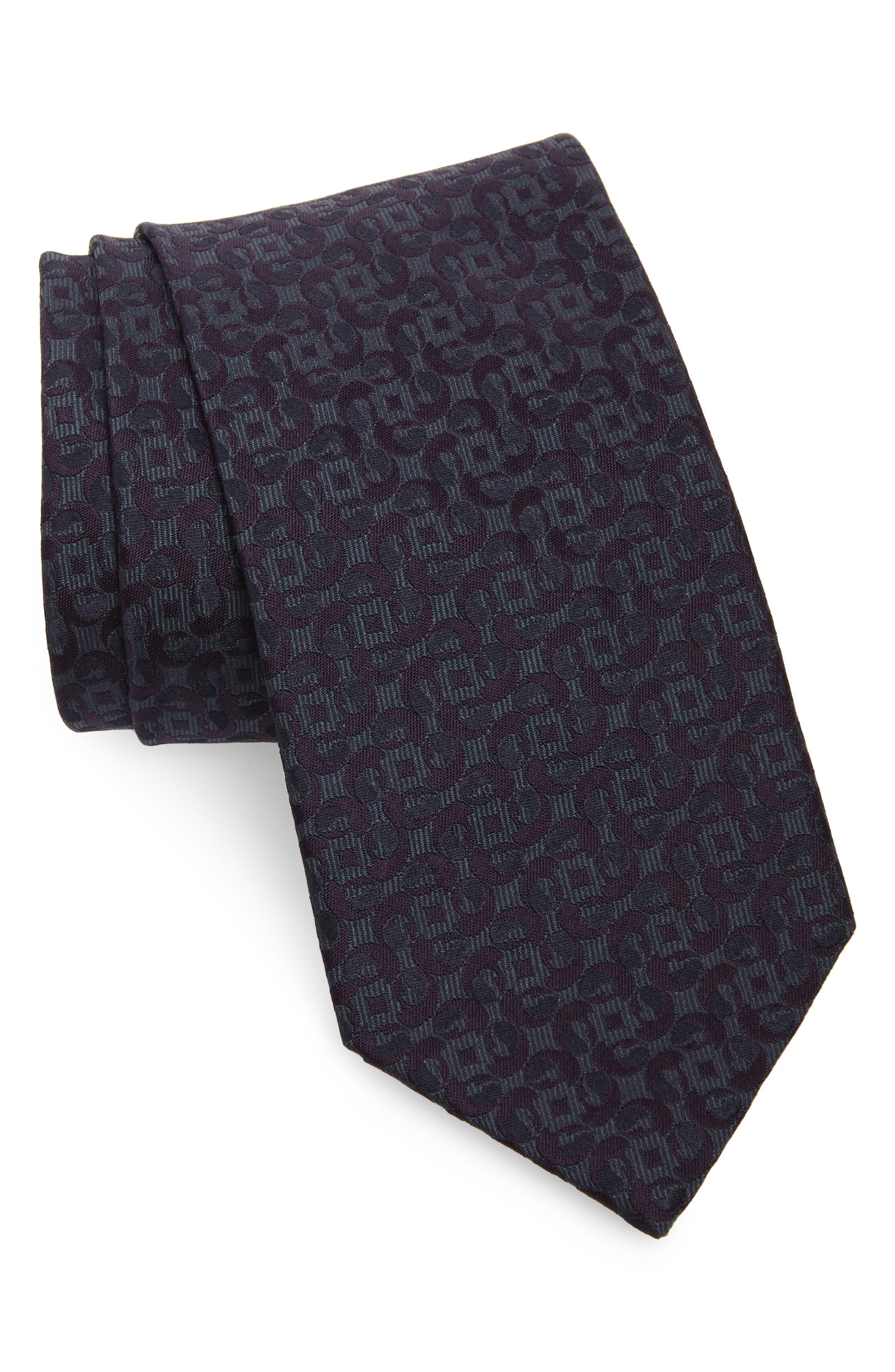 Geometric Paisley Silk Tie, Main, color, PURPLE
