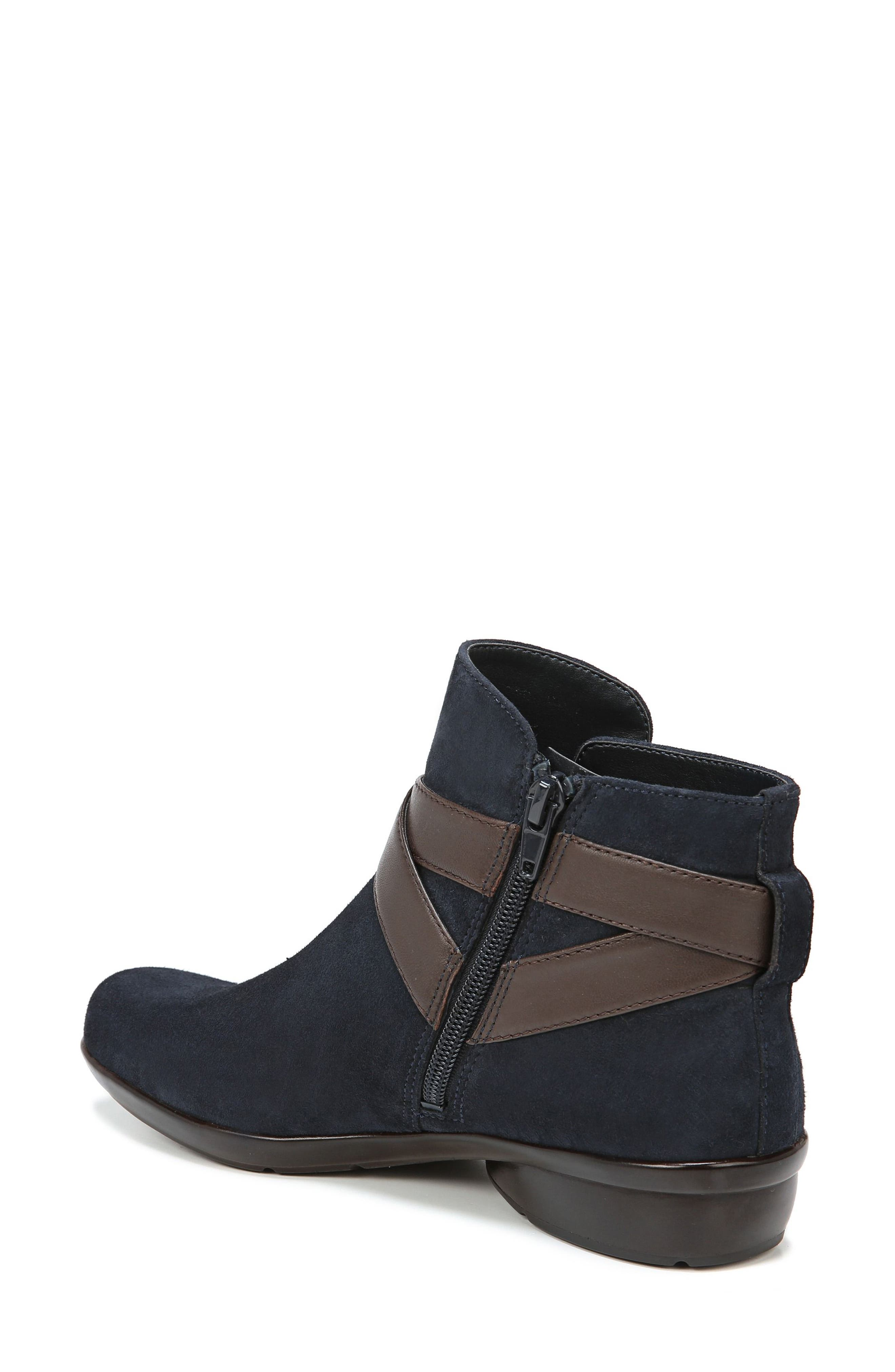 Cassandra Buckle Strap Bootie,                             Alternate thumbnail 2, color,                             NAVY/ BROWN SUEDE