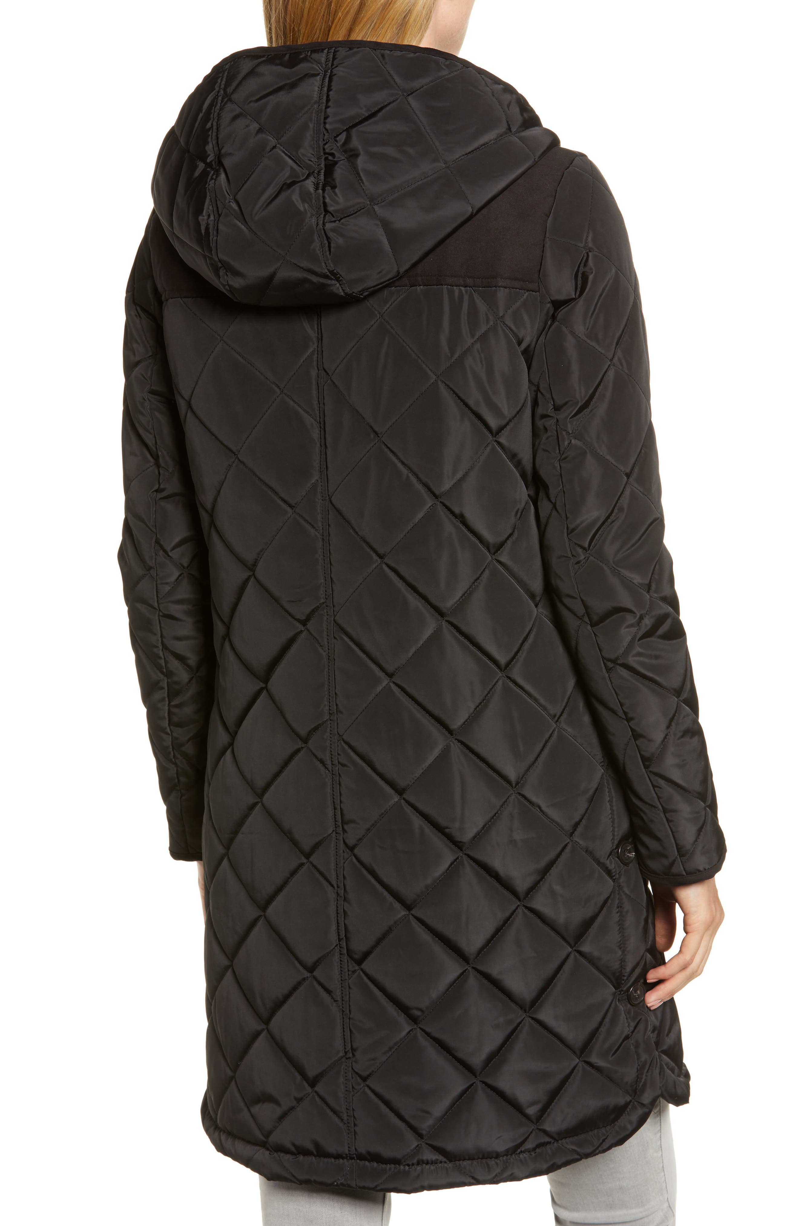 Button Side Quilted Jacket,                             Alternate thumbnail 2, color,                             BLACK