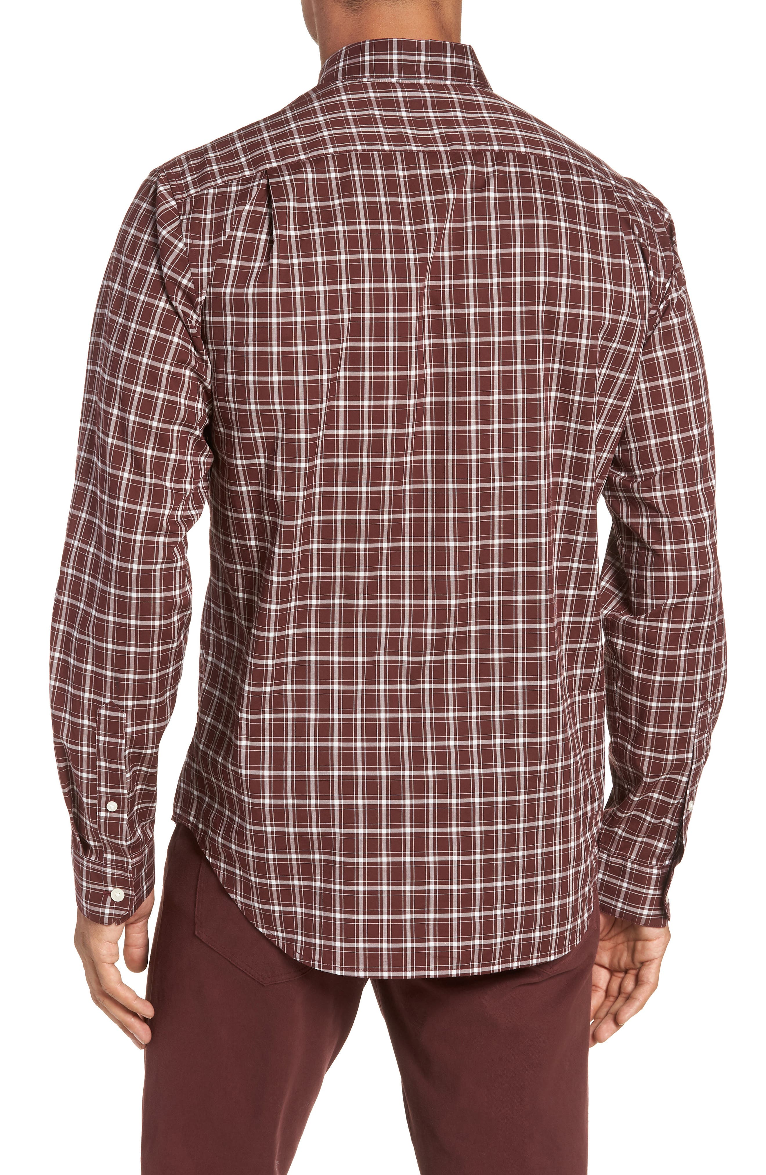 Classic Fit Plaid Sport Shirt,                             Alternate thumbnail 2, color,                             BLACK CHERRY