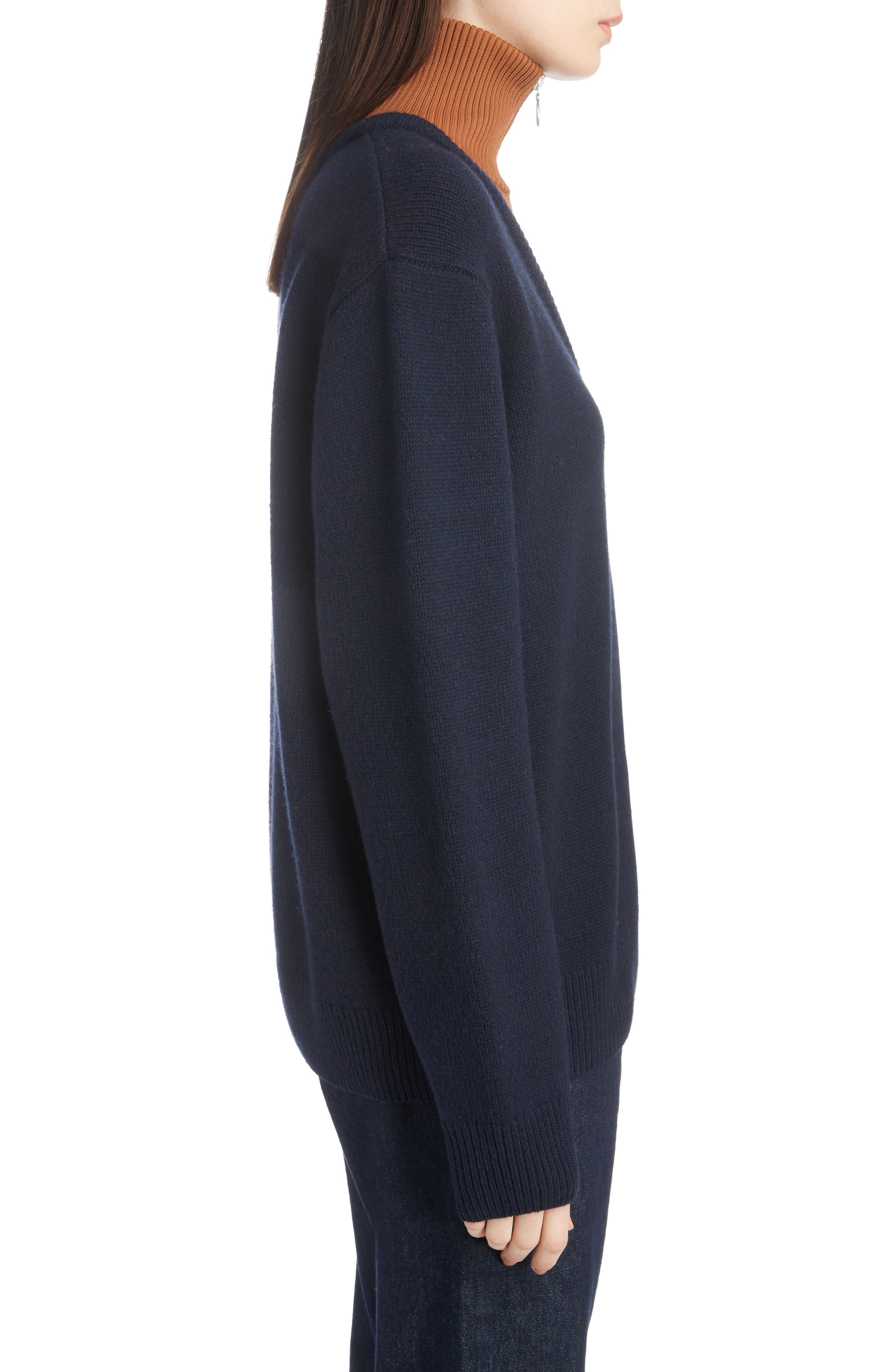 Inset Stretch Wool Sweater,                             Alternate thumbnail 3, color,                             NAVY