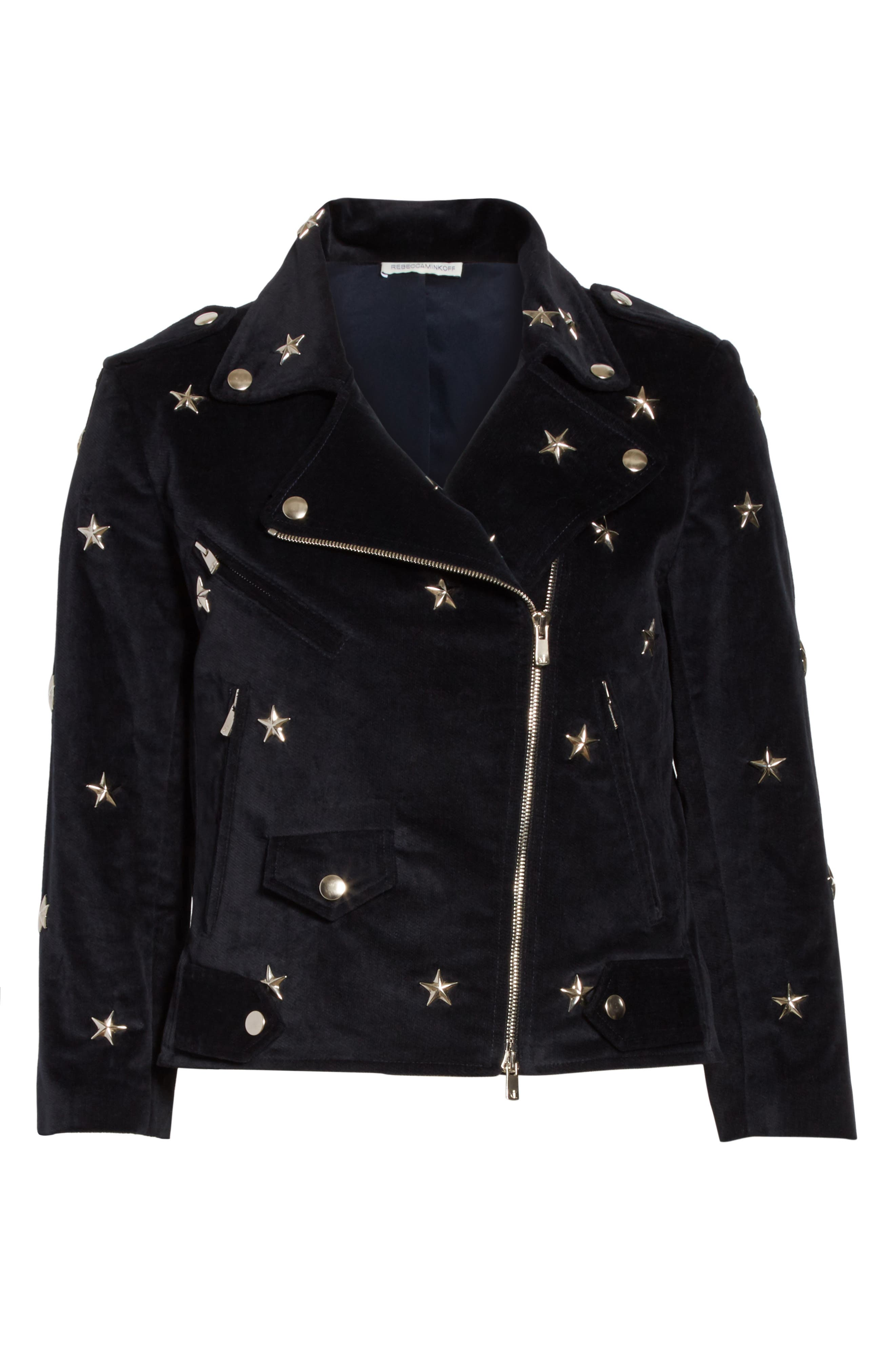 Wes Star Stud Moto Jacket,                             Alternate thumbnail 5, color,                             410