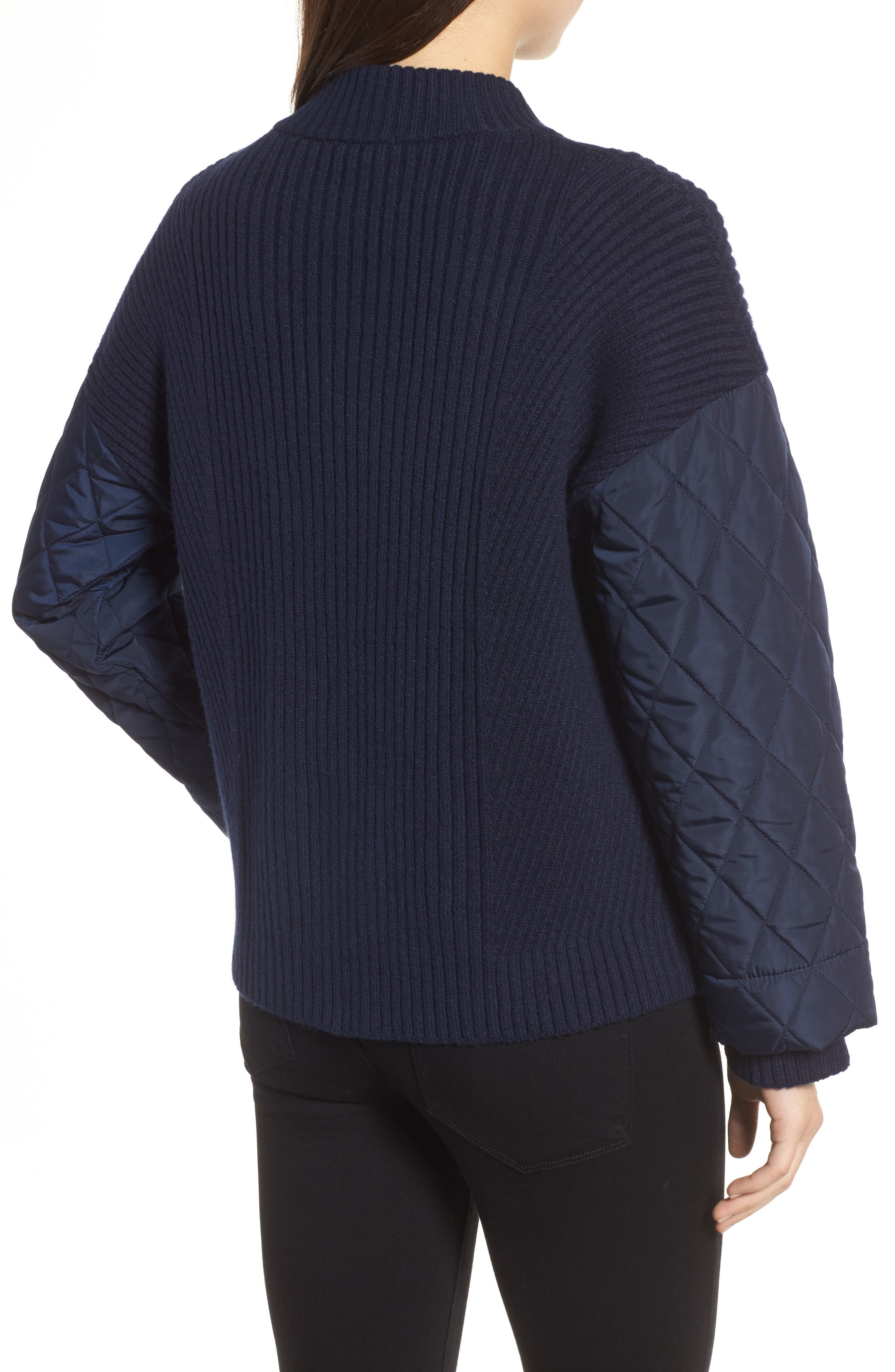 Quilted Sleeve Sweater,                             Alternate thumbnail 2, color,                             INDIGO