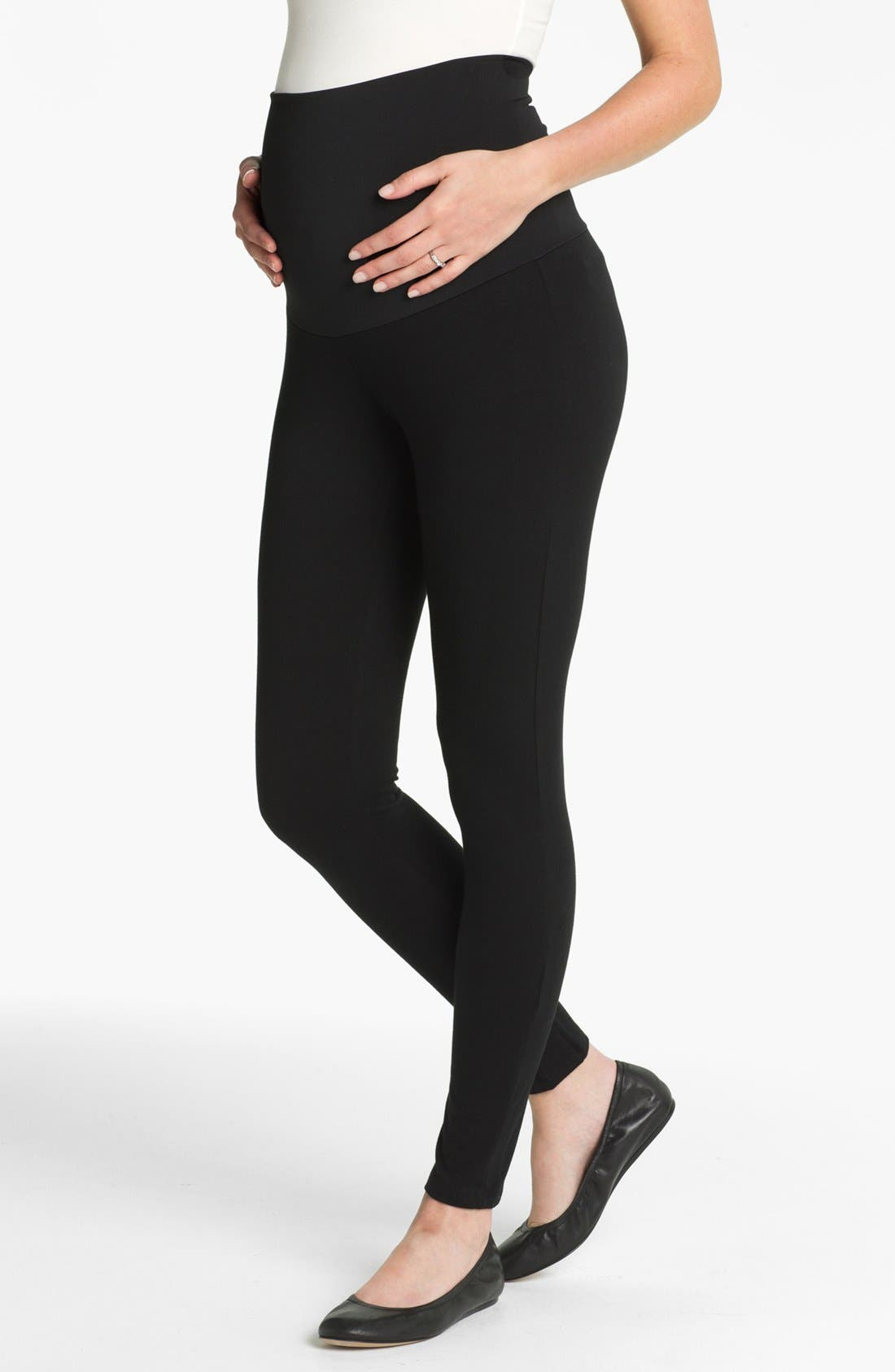 Belly Support Maternity Leggings,                             Main thumbnail 1, color,                             BLACK
