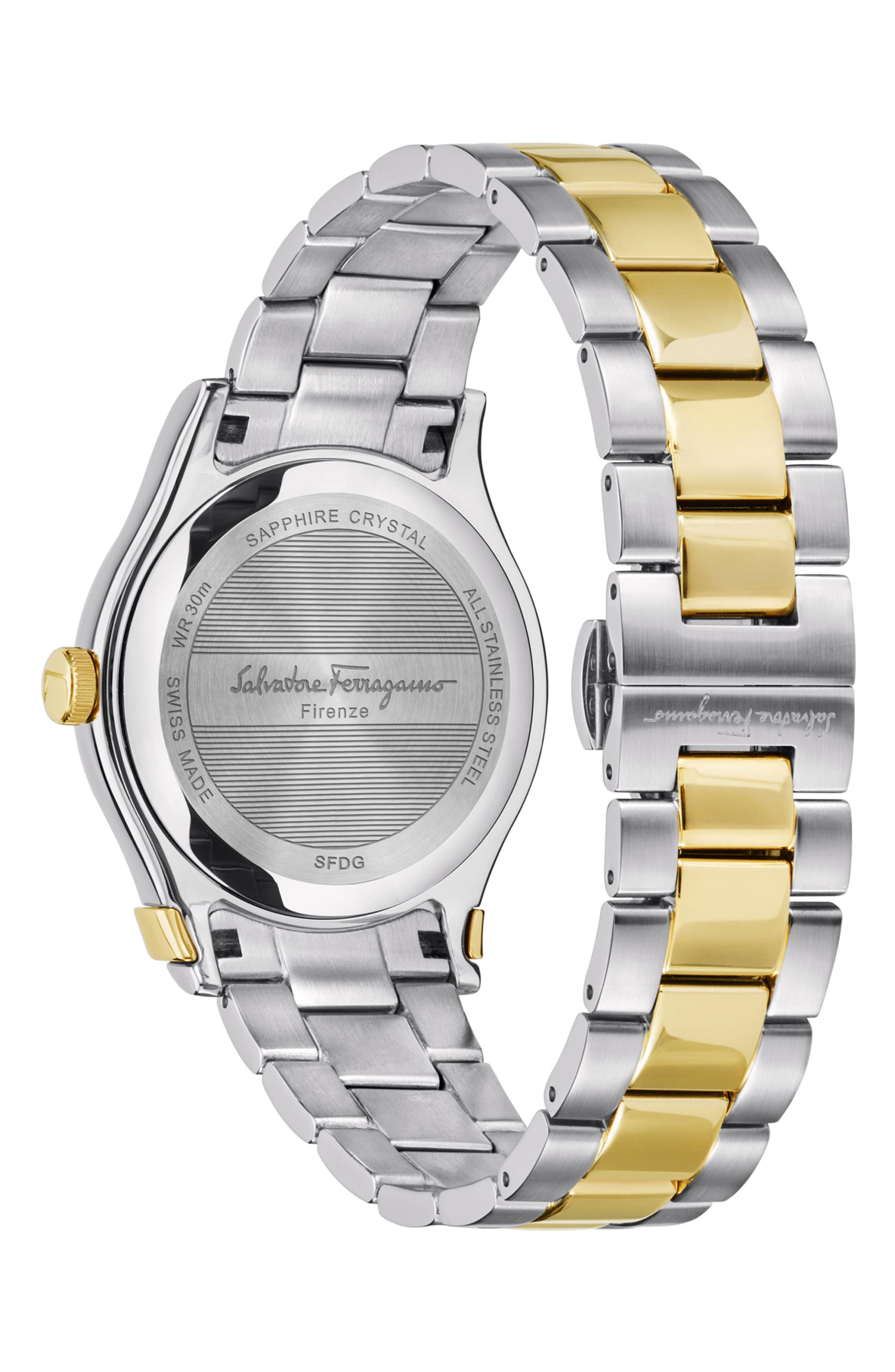1898 Diamond Bracelet Watch, 40mm,                             Alternate thumbnail 2, color,                             SILVER/ WHITE MOP/ GOLD