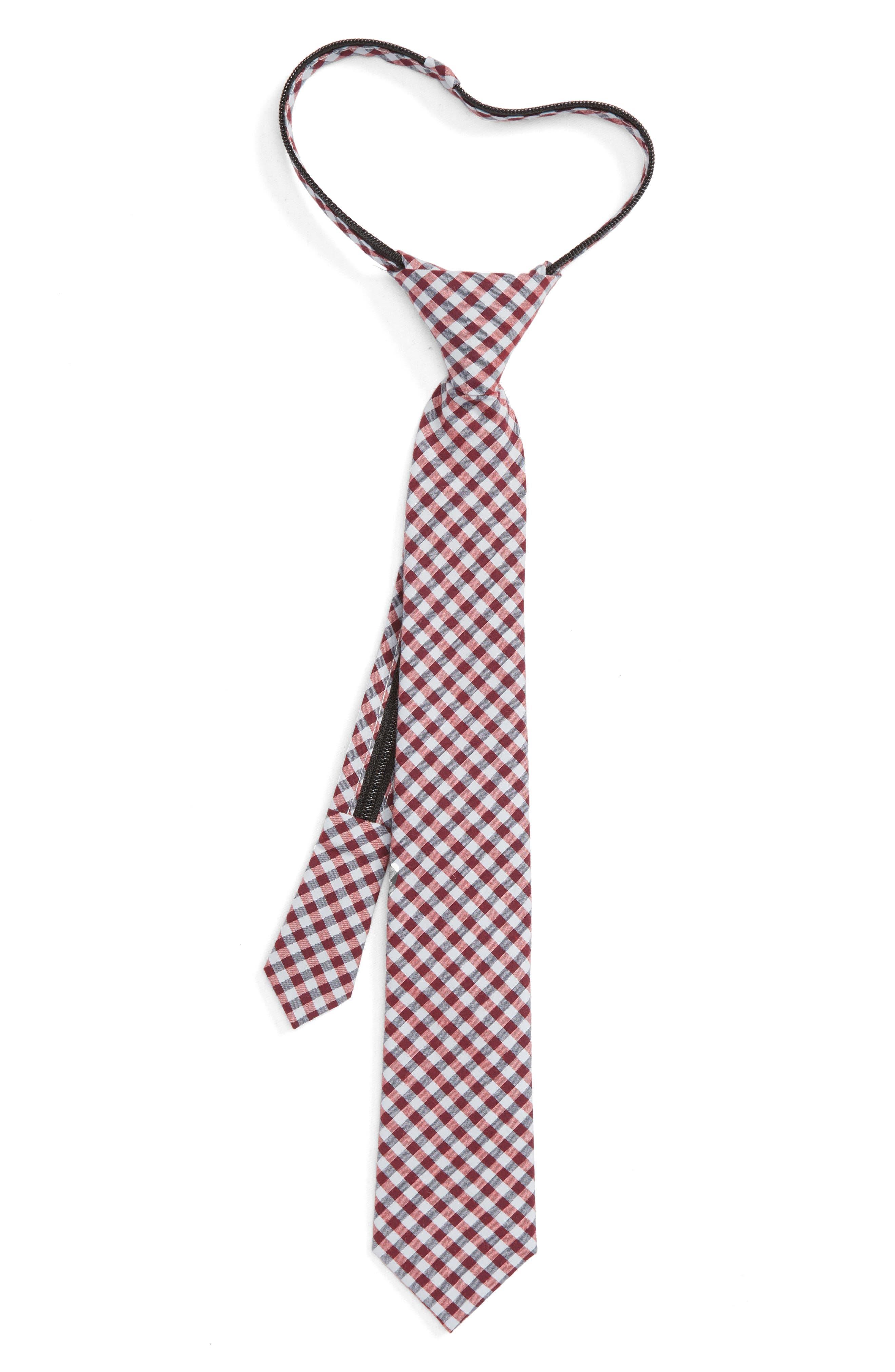 Plaid Cotton Zip Tie,                         Main,                         color, RED