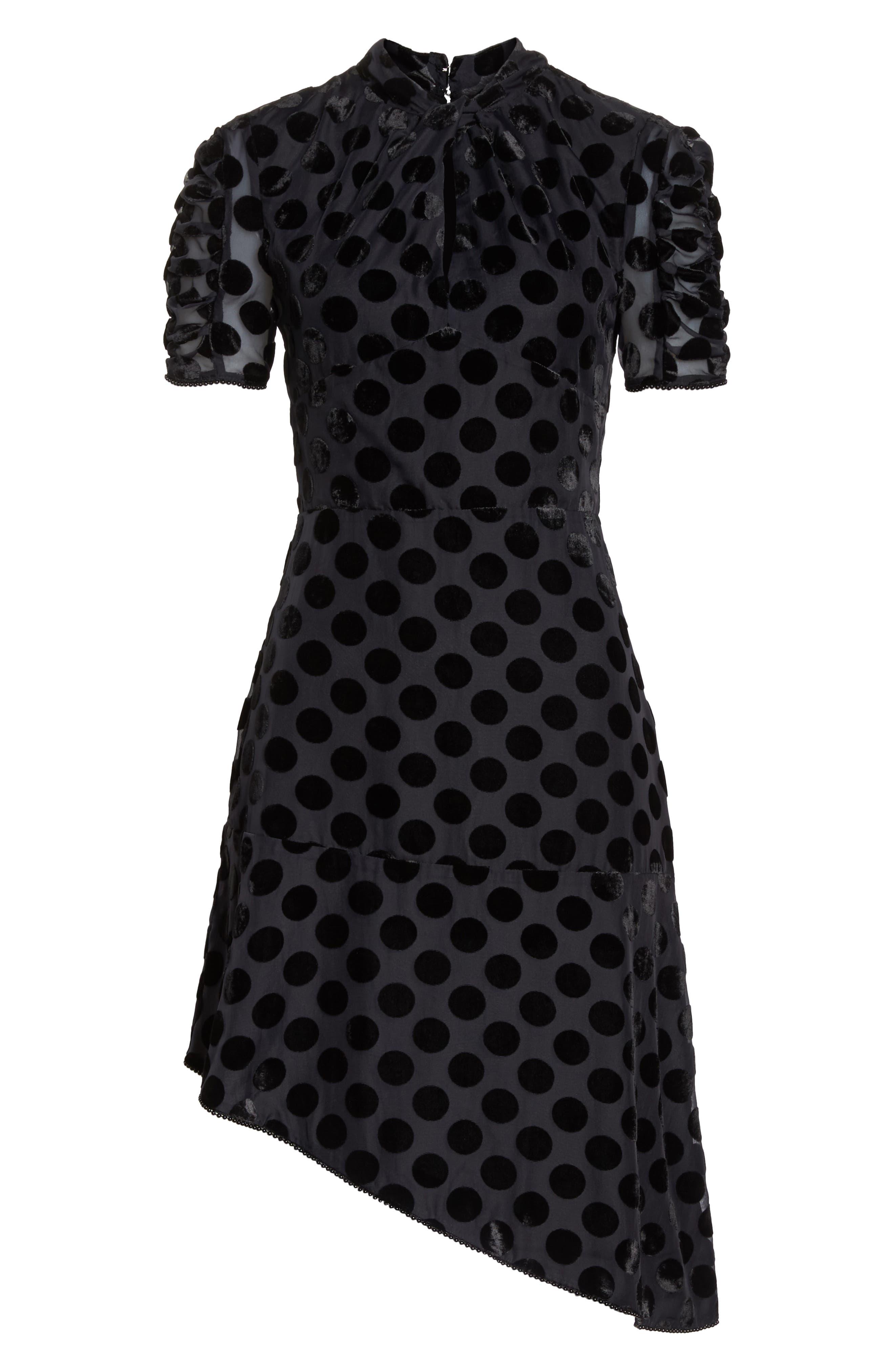 Asymmetrical Velvet Dot Dress,                             Alternate thumbnail 7, color,                             BLACK