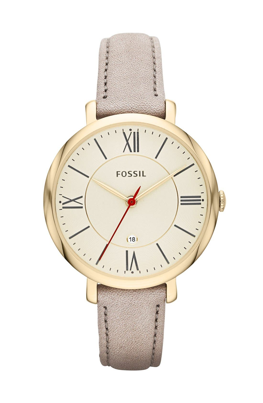 'Jacqueline' Round Leather Strap Watch, 36mm,                             Main thumbnail 2, color,