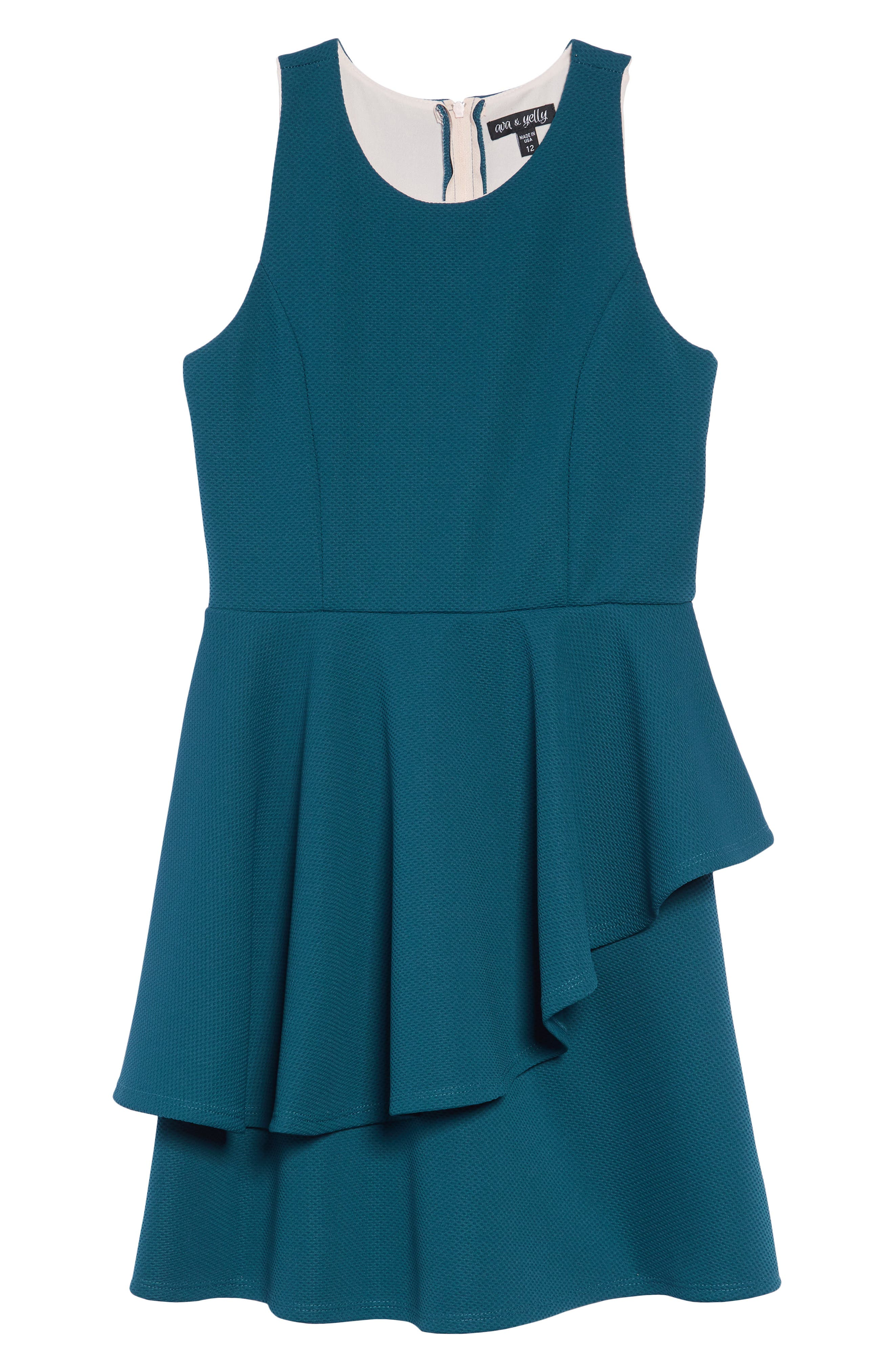 Textured Tiered Dress,                             Main thumbnail 1, color,                             TEAL/ BLUSH